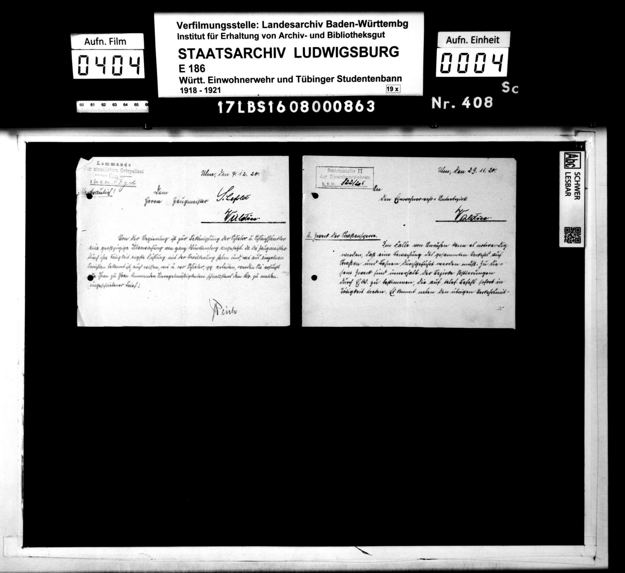 Verfügungen der Hauptstelle für Einwohnerwehren Württembergs, der Bezirksstelle 2 Ulm und anderer Dienststellen, Bild 2