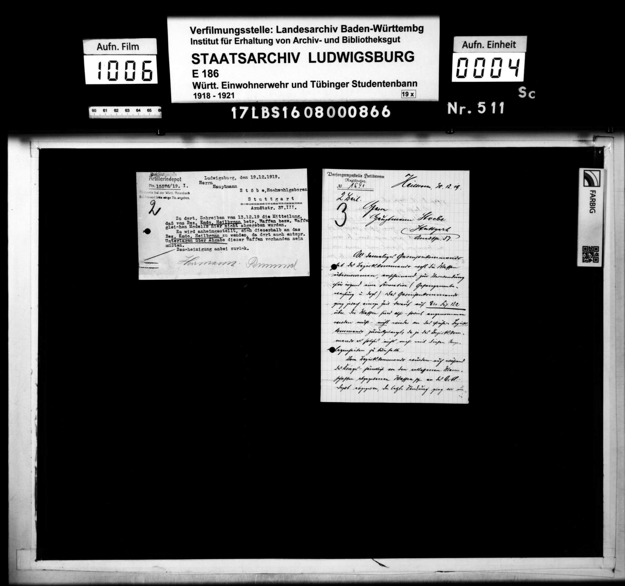 Waffenbestand der Bezirksstelle 4 Heilbronn, Bild 1