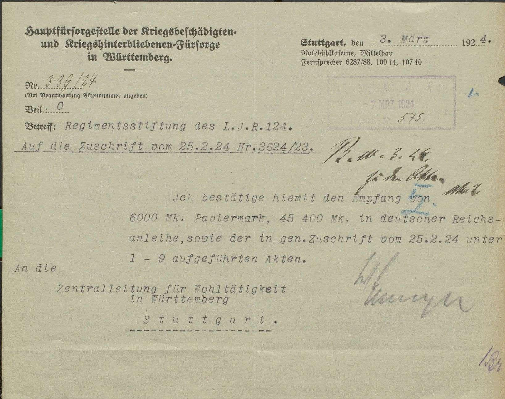 Unterstützungskasse des Landwehr-Inf. Reg. Nr. 124, Bild 1
