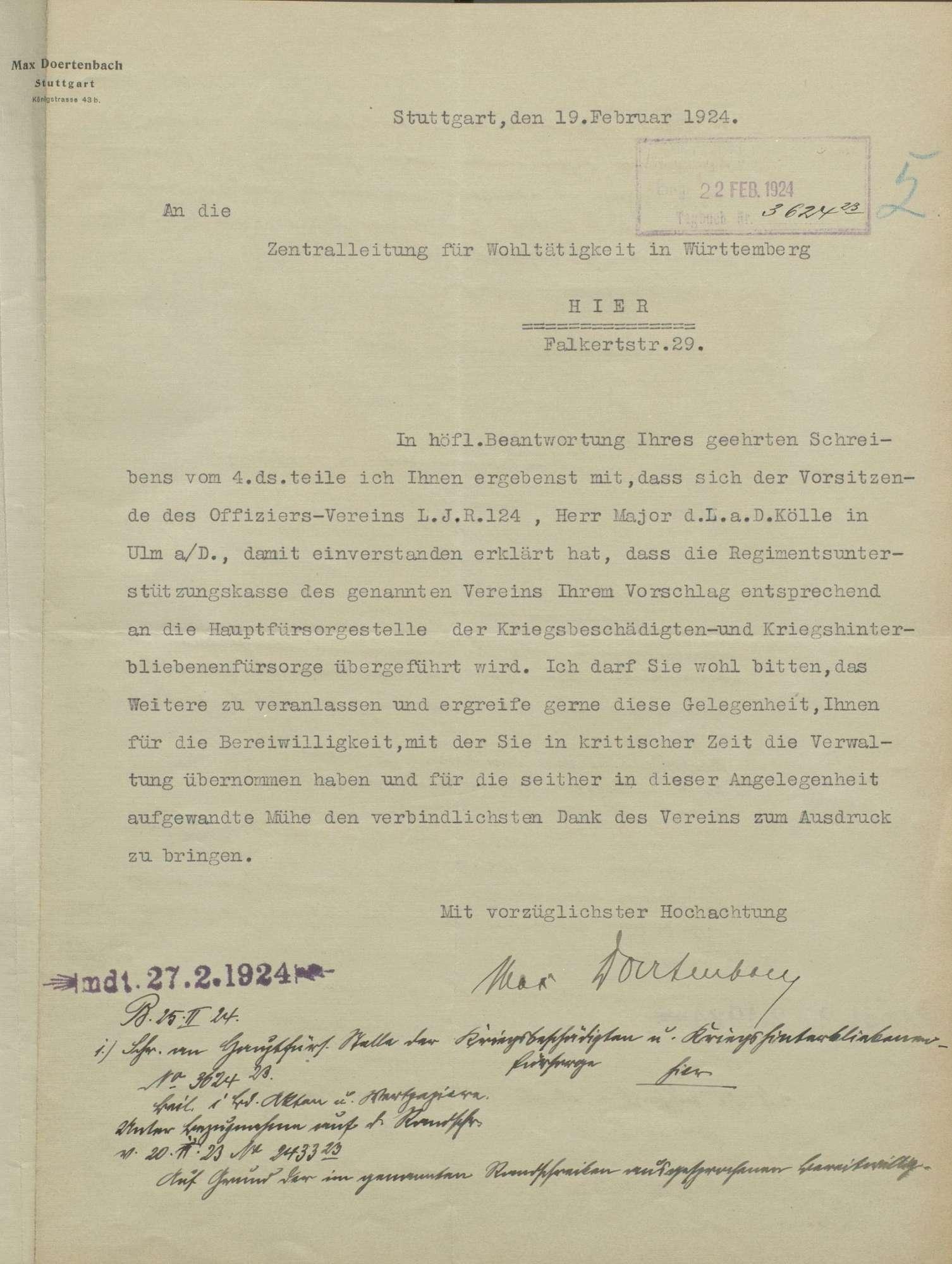 Unterstützungskasse des Landwehr-Inf. Reg. Nr. 124, Bild 2