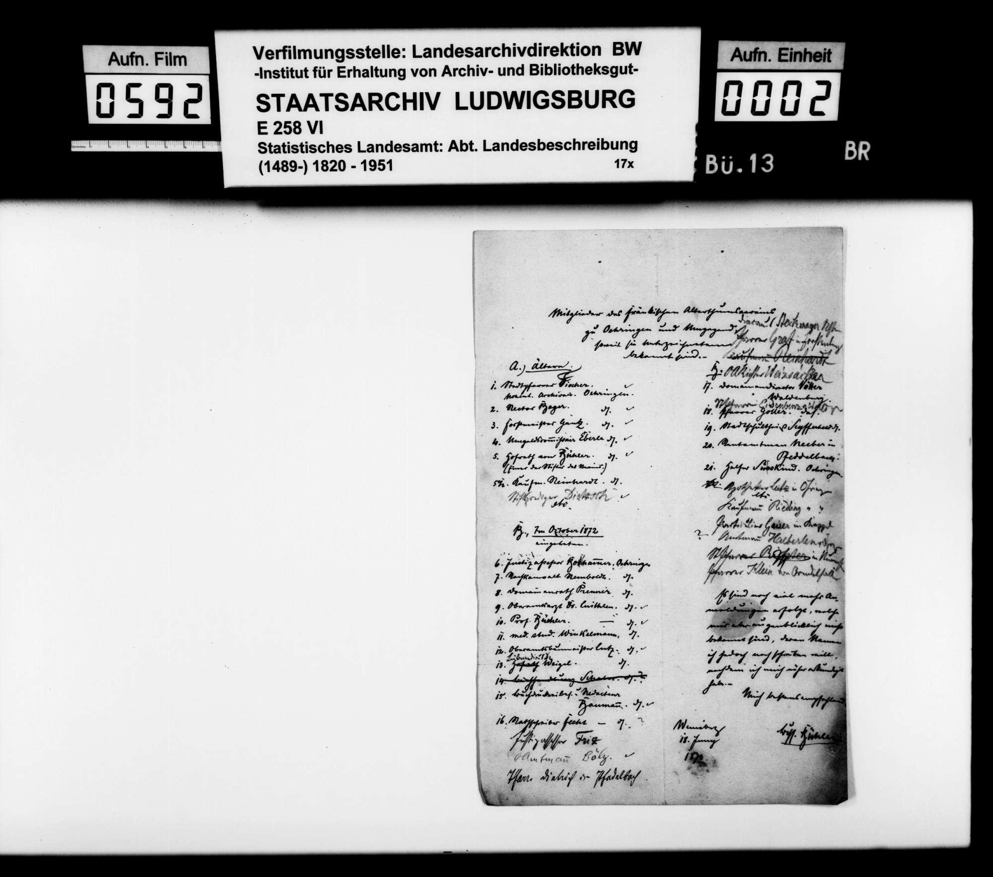 Liste der dem Kameralamtsbuchhalter Bühler aus Weinsberg bekannten Mitglieder des fränkischen Altertumsvereins zu Öhringen und Umgebung, Bild 1