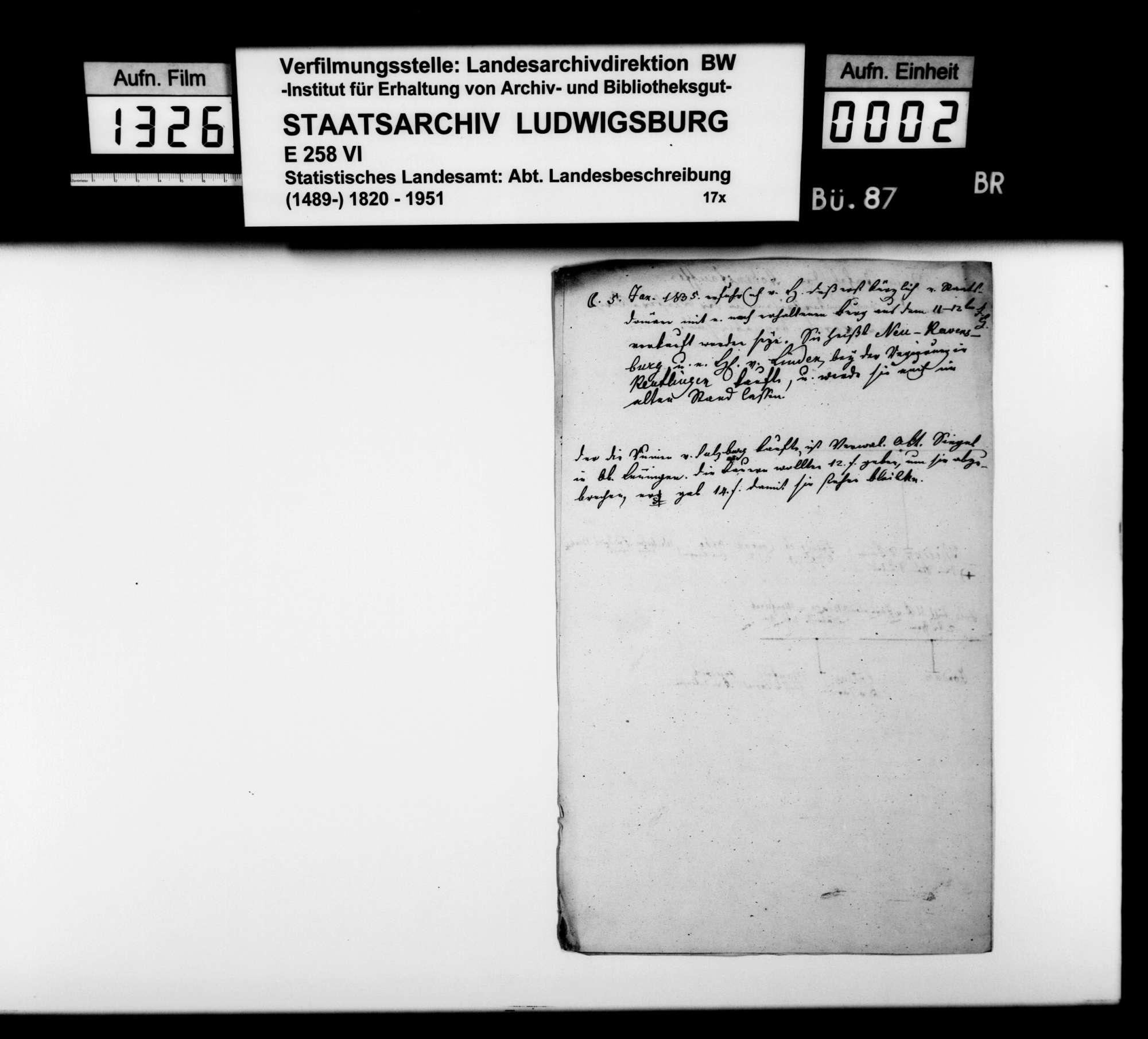 Verschiedenes Material [des Kupferstechers August Seyffer] zu den württembergischen Altertümern, Bild 1