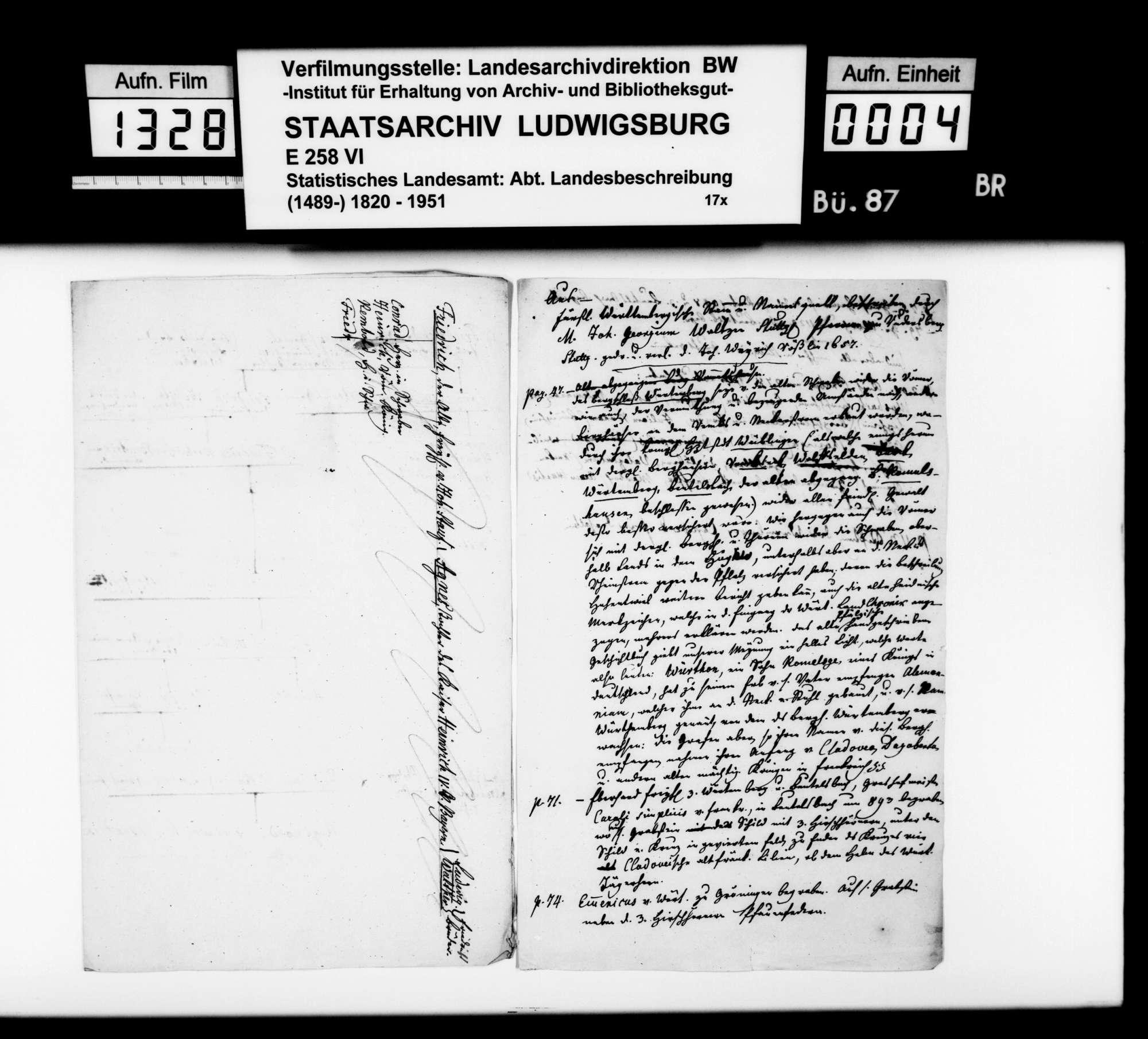 Verschiedenes Material [des Kupferstechers August Seyffer] zu den württembergischen Altertümern, Bild 3
