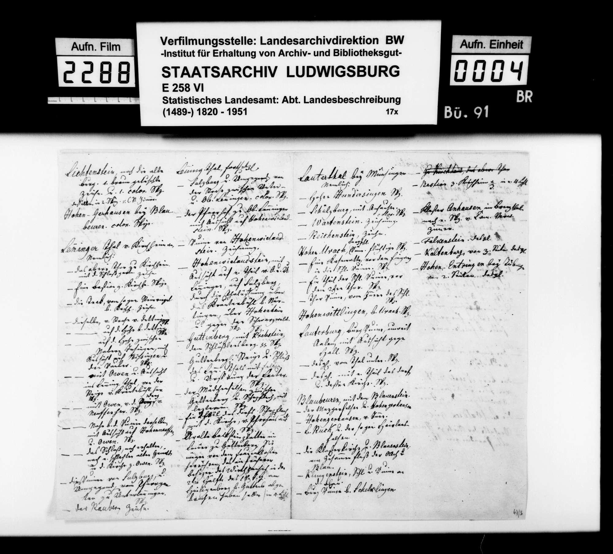 Listen, Bemerkungen und Konzepte [des Hofkupferstechers August Seyffer] zum Verfall und Erhalt der Kunst- und Altertumsdenkmale in Württemberg, Bild 3