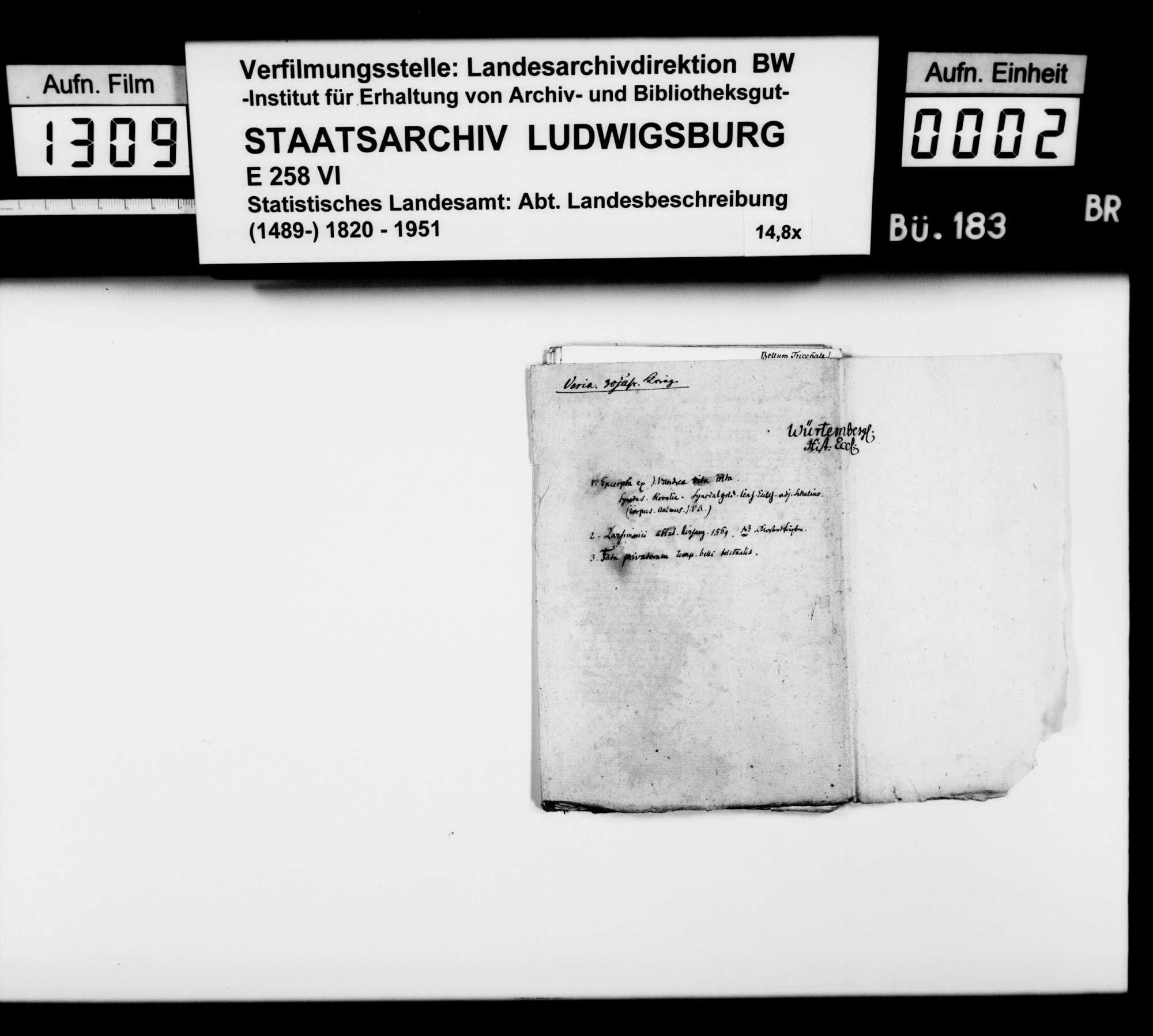 Notizen [des Stuttgarter Gymnasialprofessors Gottlieb Friedrich Rösler] zur württembergischen Geschichte vornehmlich im Dreißigjährigen Krieg; gearbeitet aus Akten, Leichenpredigten und biographischen Büchern, Bild 1