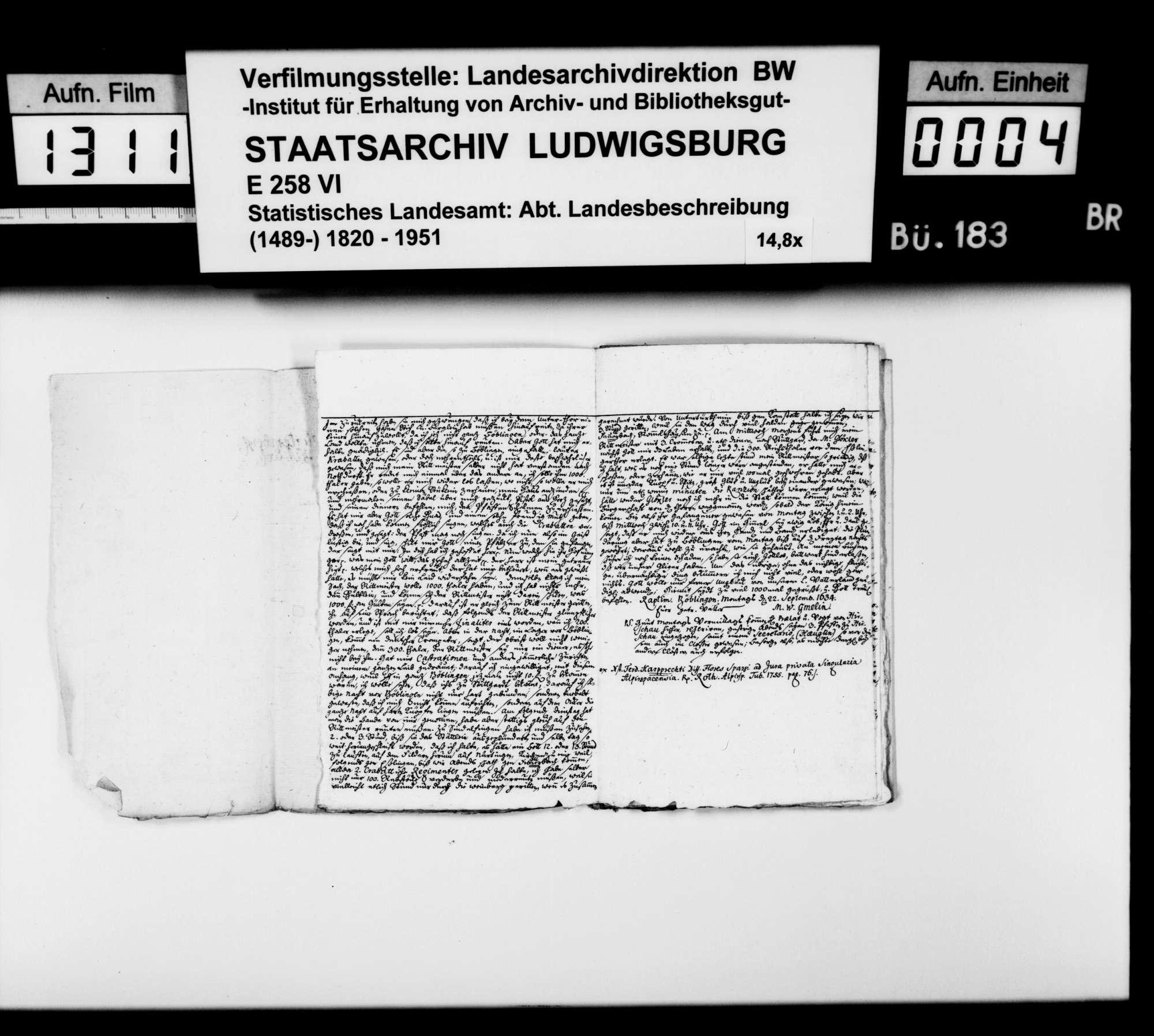 Notizen [des Stuttgarter Gymnasialprofessors Gottlieb Friedrich Rösler] zur württembergischen Geschichte vornehmlich im Dreißigjährigen Krieg; gearbeitet aus Akten, Leichenpredigten und biographischen Büchern, Bild 3