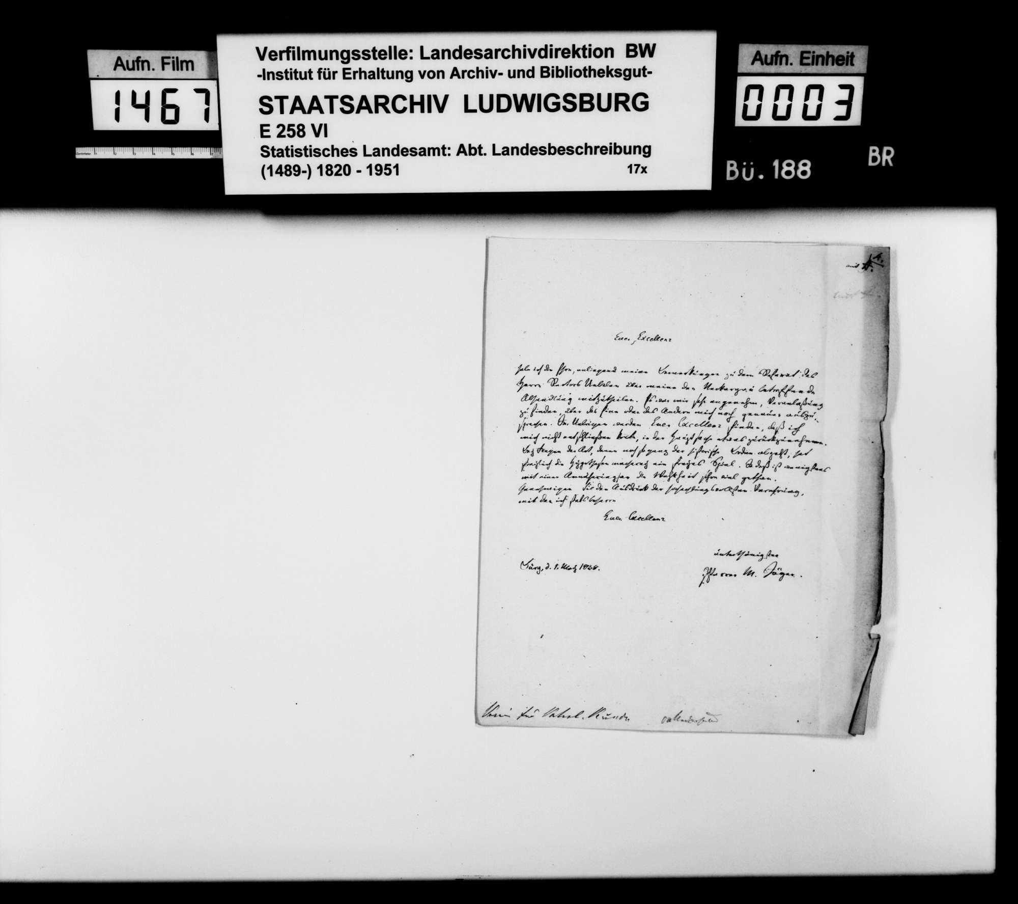Aufsatz des Pfarrers Karl Jäger aus Bürg [Oberamt Neckarsulm] über den Neckargau und dessen Untergaue, mit einer Karte im Maßstab ca. 1:125 000, s/w, Gau-