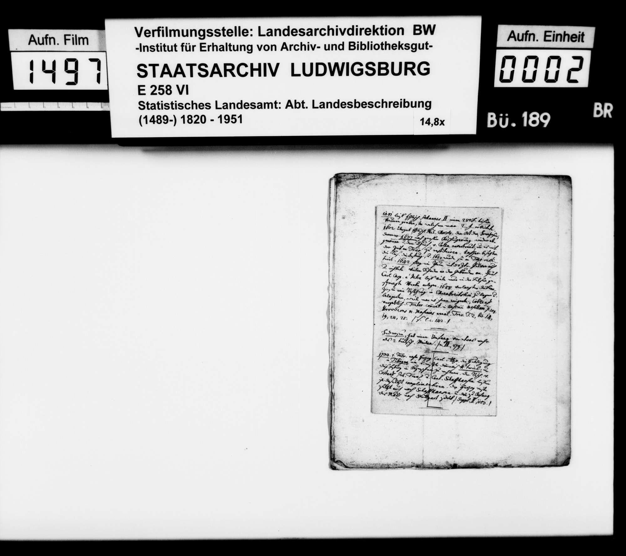 Exzerpt [des Pfarrers Friedrich Köhler aus Marschalkenzimmern] zum Schwarzwald im Dreißigjährigen Krieg 1632/33, aus Christian Friedrich Sattlers Geschichte von Württemberg, Bild 1