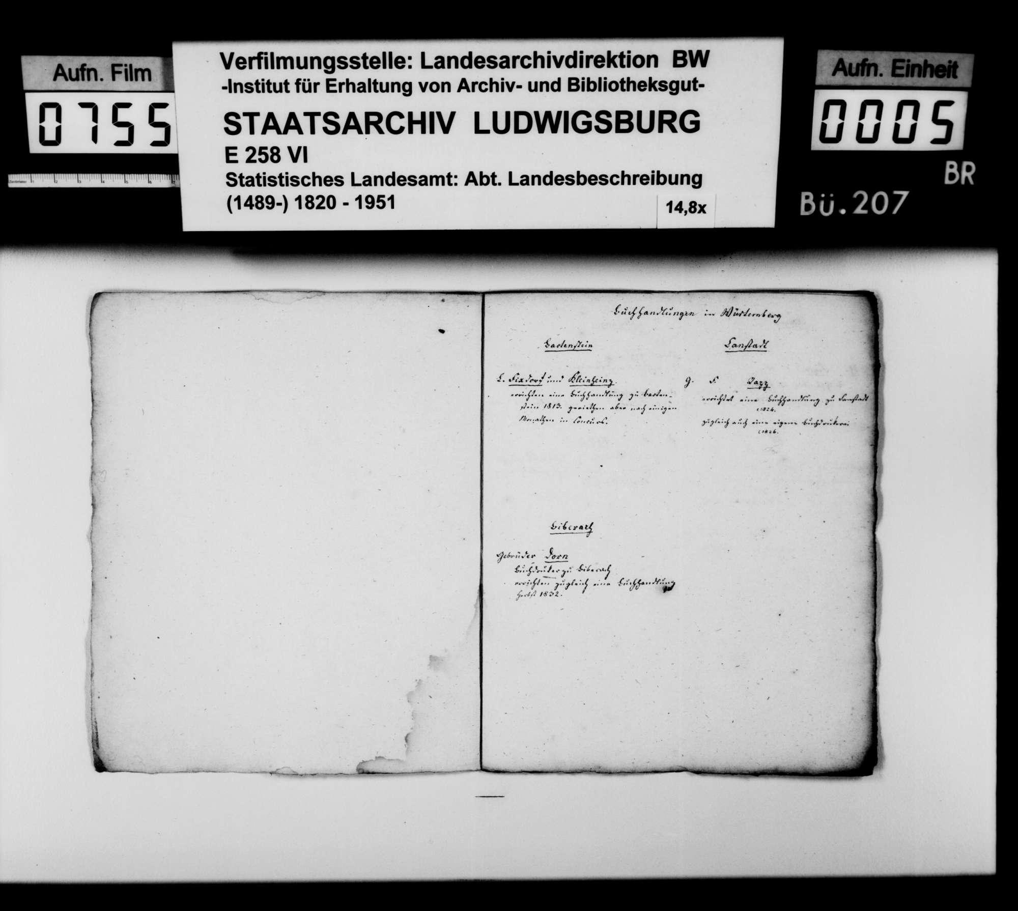 Materialsammlung des Karl von Alberti: Notizen zur Geschichte der Buchdruckereien in Schwaben; I. Württemberg, II. Baden, III. bayerisches Schwaben, Bild 3