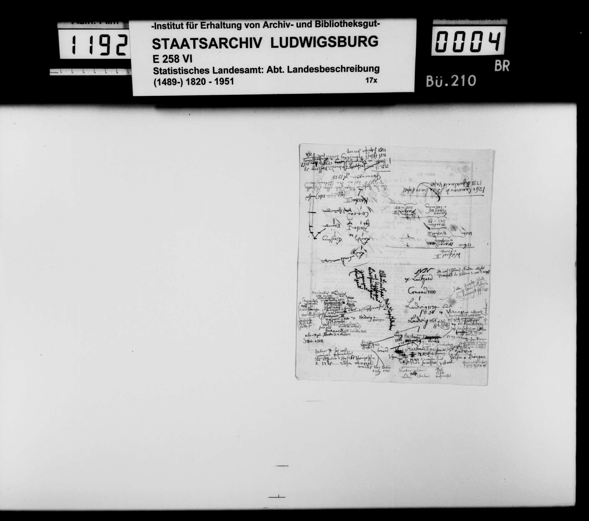 Kollektaneen und Aufsatzkonzepte des Dekans [Hermann] Bauer aus Weinsberg zur Genealogie und Geschichte des Adels im Königreich, vor allem zum Ursprung des Hauses Württemberg, Bild 2