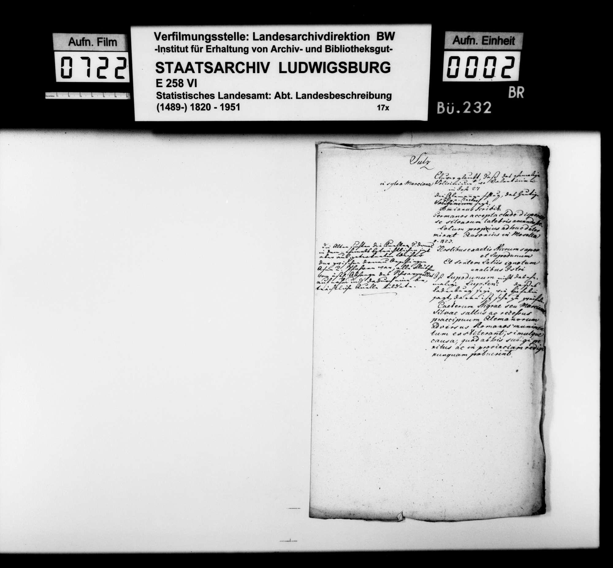 Verschiedene Notizen [des Landvogteisteuerrats am oberen Neckar Heinrich Zeller] zur Früh- und mittelalterlichen Geschichte von Orten und Herrschaften im späteren Schwarzwaldkreis und angrenzenden Gebieten, Bild 1