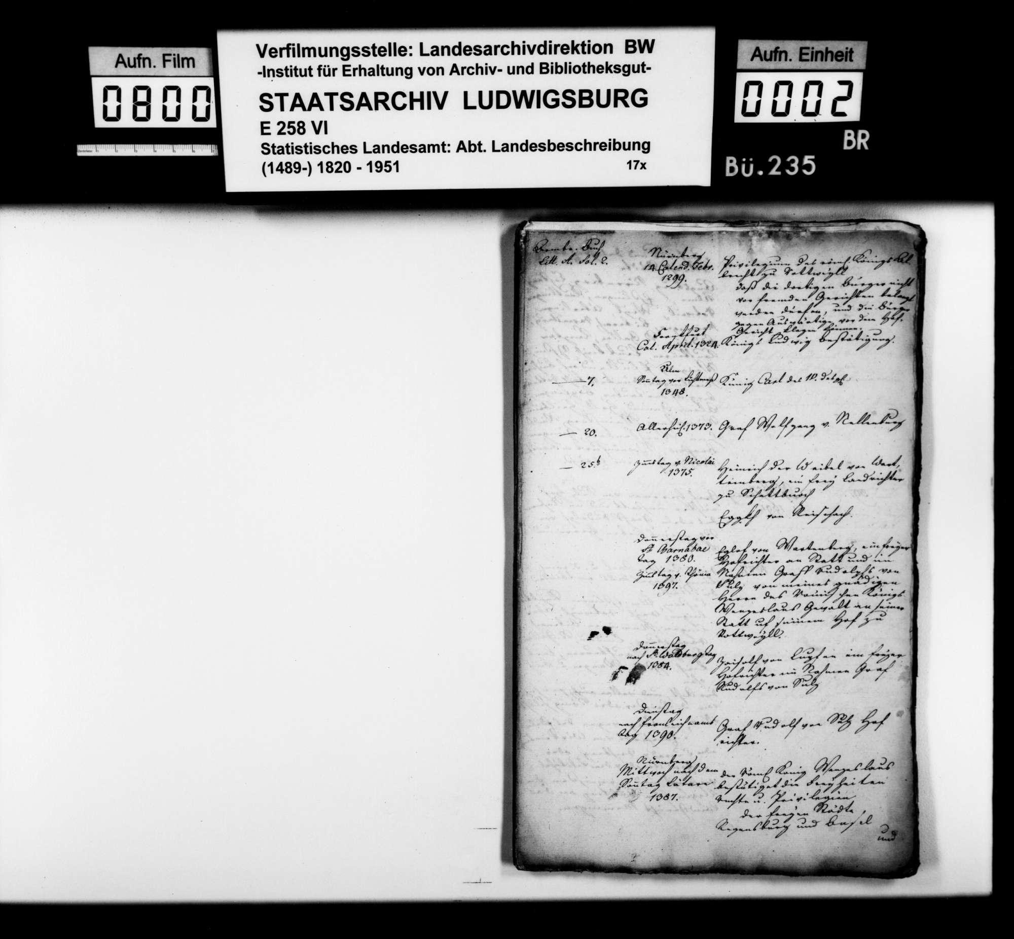 Chronologische Notizen [des Landvogteisteuerrats Heinrich Zeller] zu Namen und Ereignissen im Gebiet des späteren Schwarzwaldkreises von 1299 bis ins 18. Jahrhundert, Bild 1