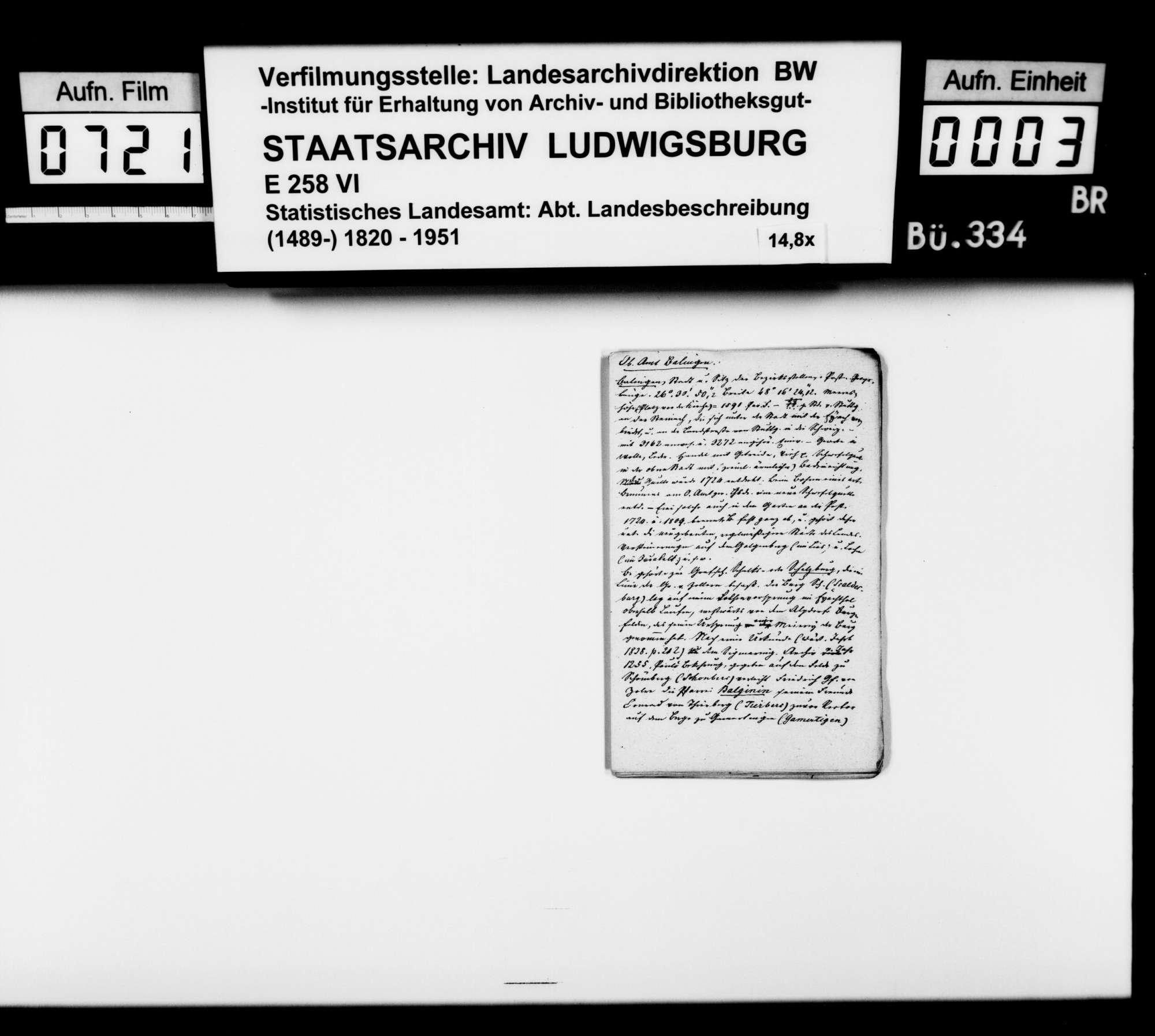 Notizen [des Trigonometers Diezel in der Kanzlei des STBs] zur Beschreibung und Geschichte verschiedener Orte im Schwarzwaldkreis, Bild 2