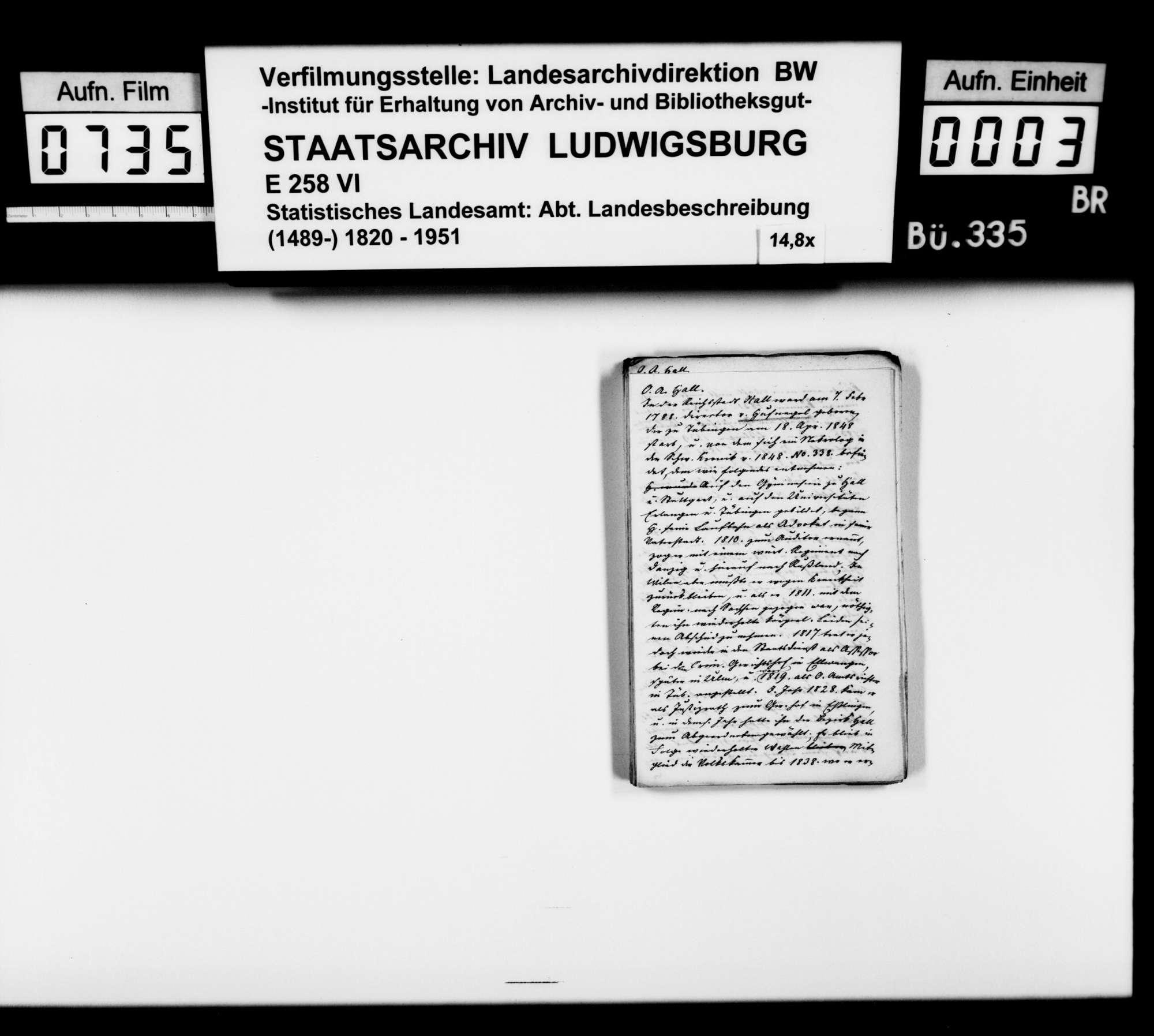 Notizen und Exzerpte [des Trigonometers Diezel in der Kanzlei des STBs] zur Beschreibung und Geschichte verschiedener Personen, Institutionen, Orte und Pfarrbezirke im Jagstkreis, Bild 2