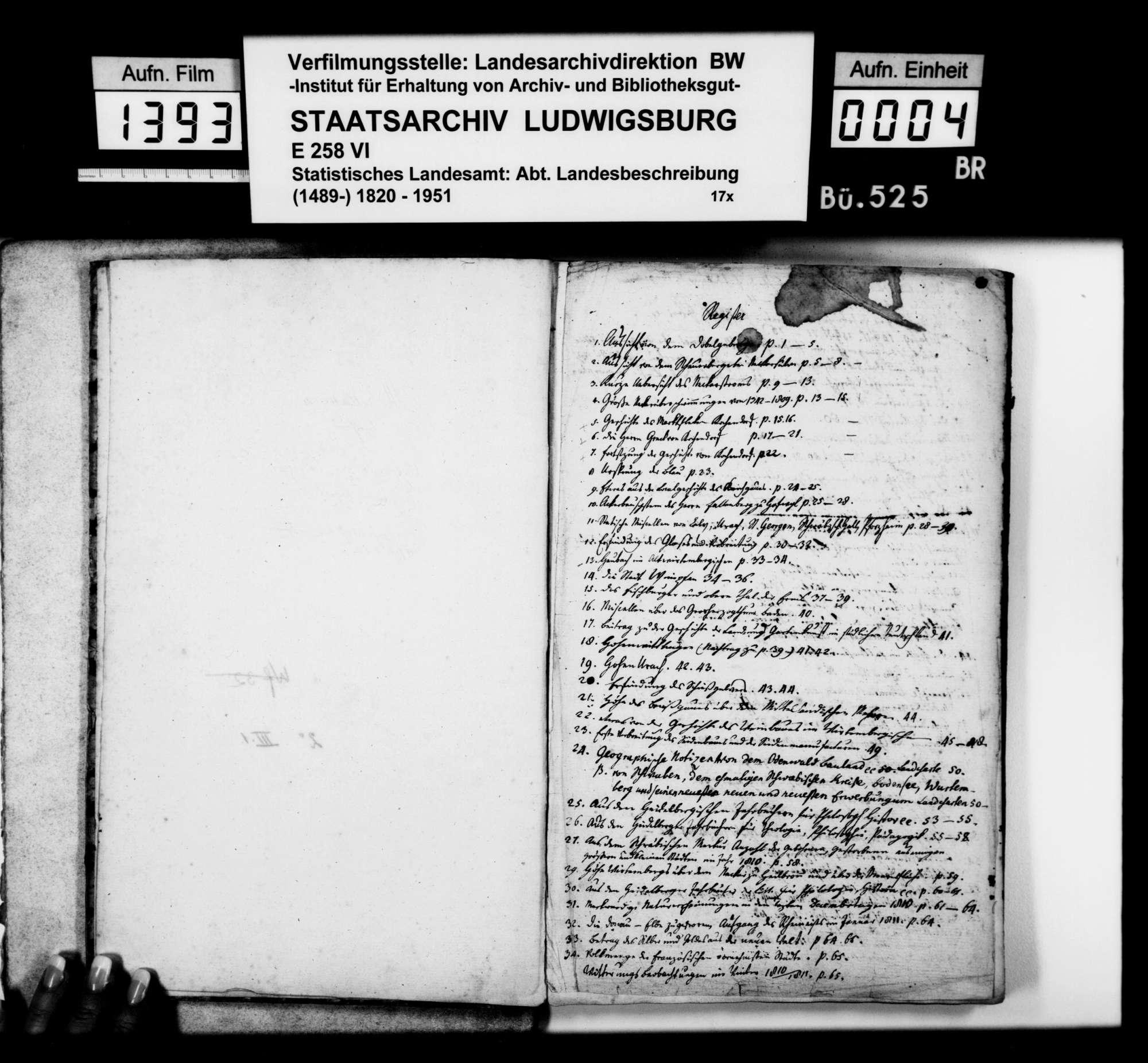 Miscellanea, bestehend aus Aufsätzen und Exzerpten verschiedenen Inhalts des Pfarrers [Karl Christian] Gratianus [aus Hengen], Bild 3