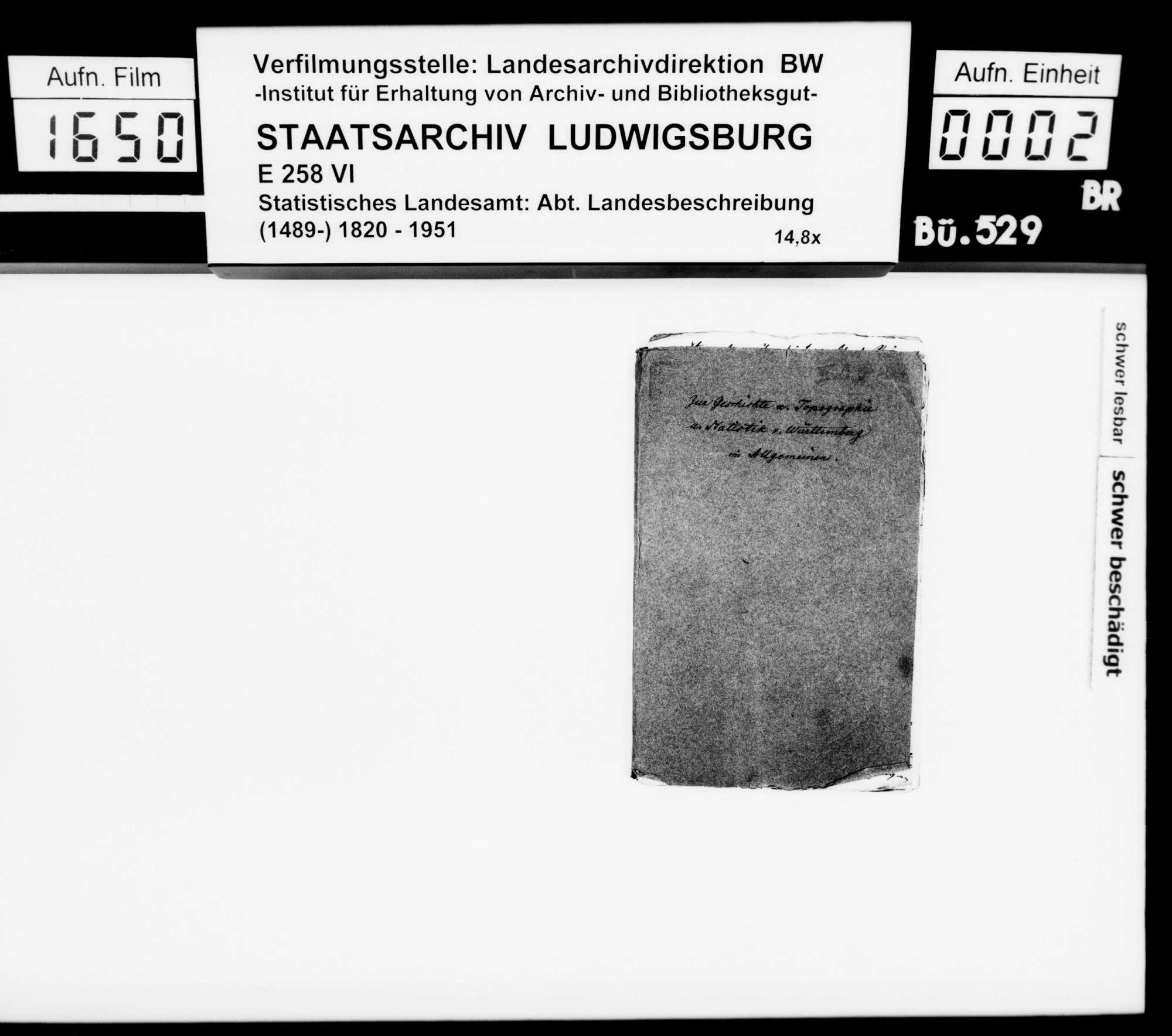Notizen und Exzerpte [des Trigonometers Diezel in der Kanzlei des STBs] zu verschiedenen Wissensgebieten, bezogen auf das Königreich Württemberg, Bild 1
