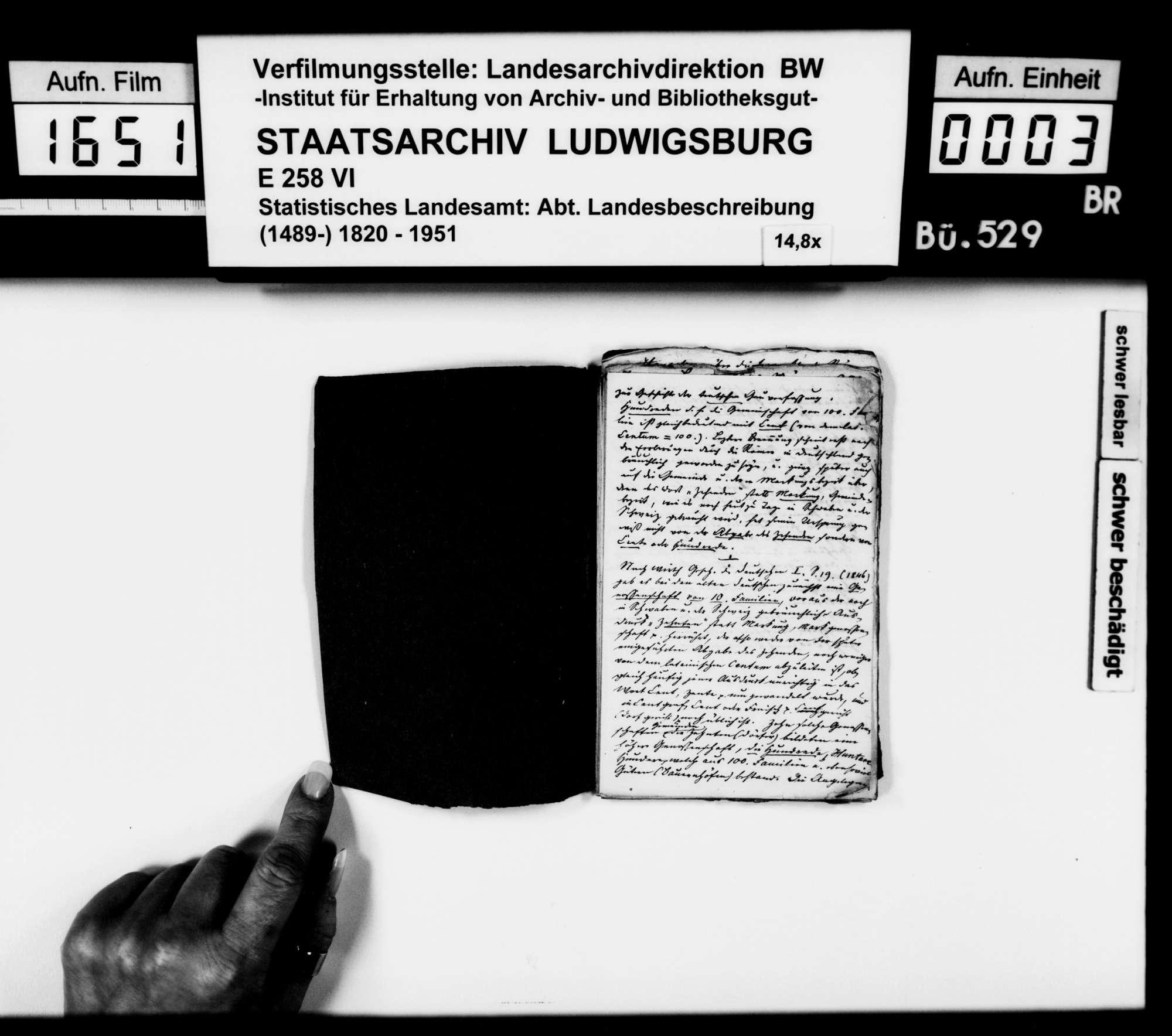 Notizen und Exzerpte [des Trigonometers Diezel in der Kanzlei des STBs] zu verschiedenen Wissensgebieten, bezogen auf das Königreich Württemberg, Bild 2