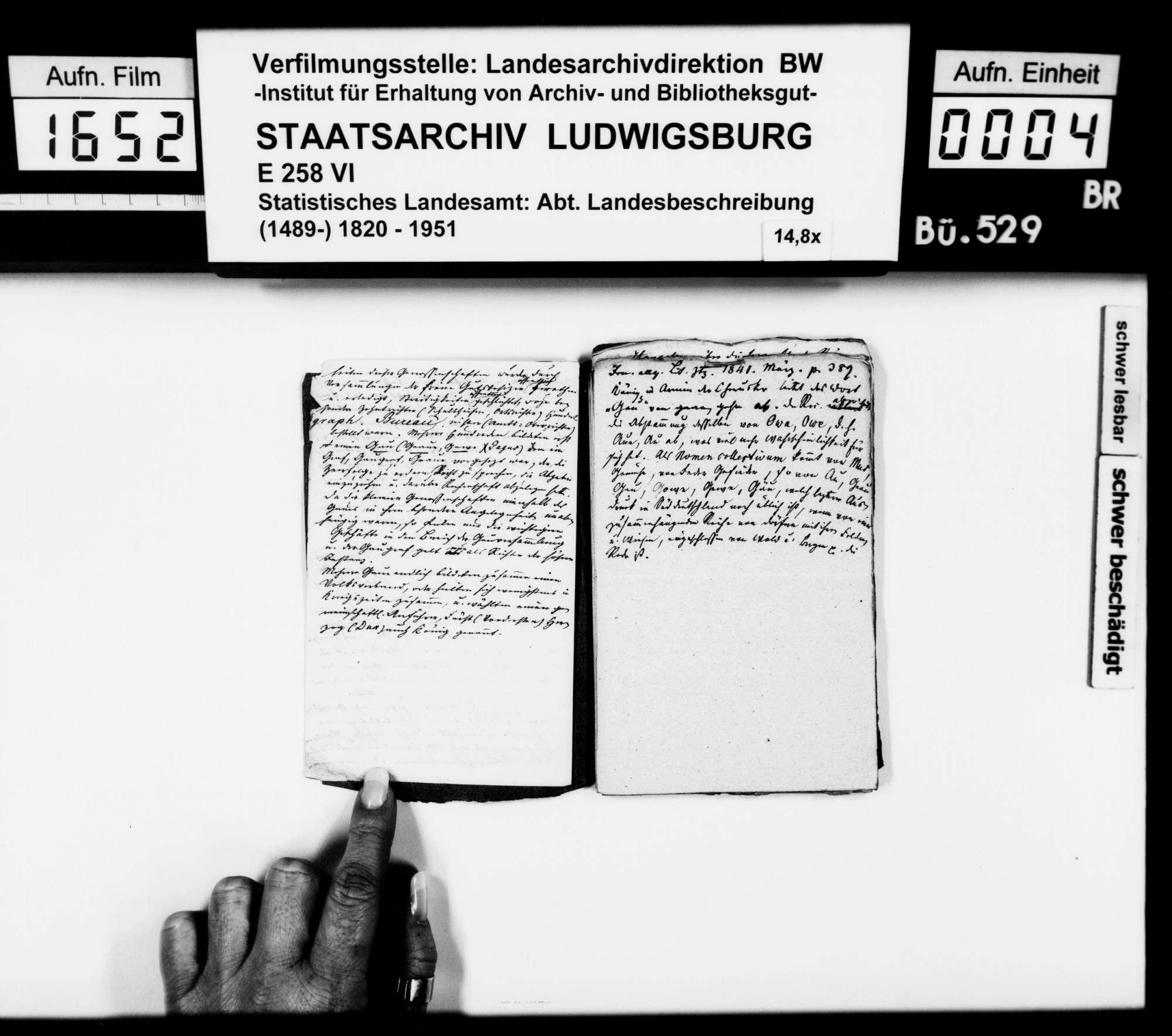 Notizen und Exzerpte [des Trigonometers Diezel in der Kanzlei des STBs] zu verschiedenen Wissensgebieten, bezogen auf das Königreich Württemberg, Bild 3