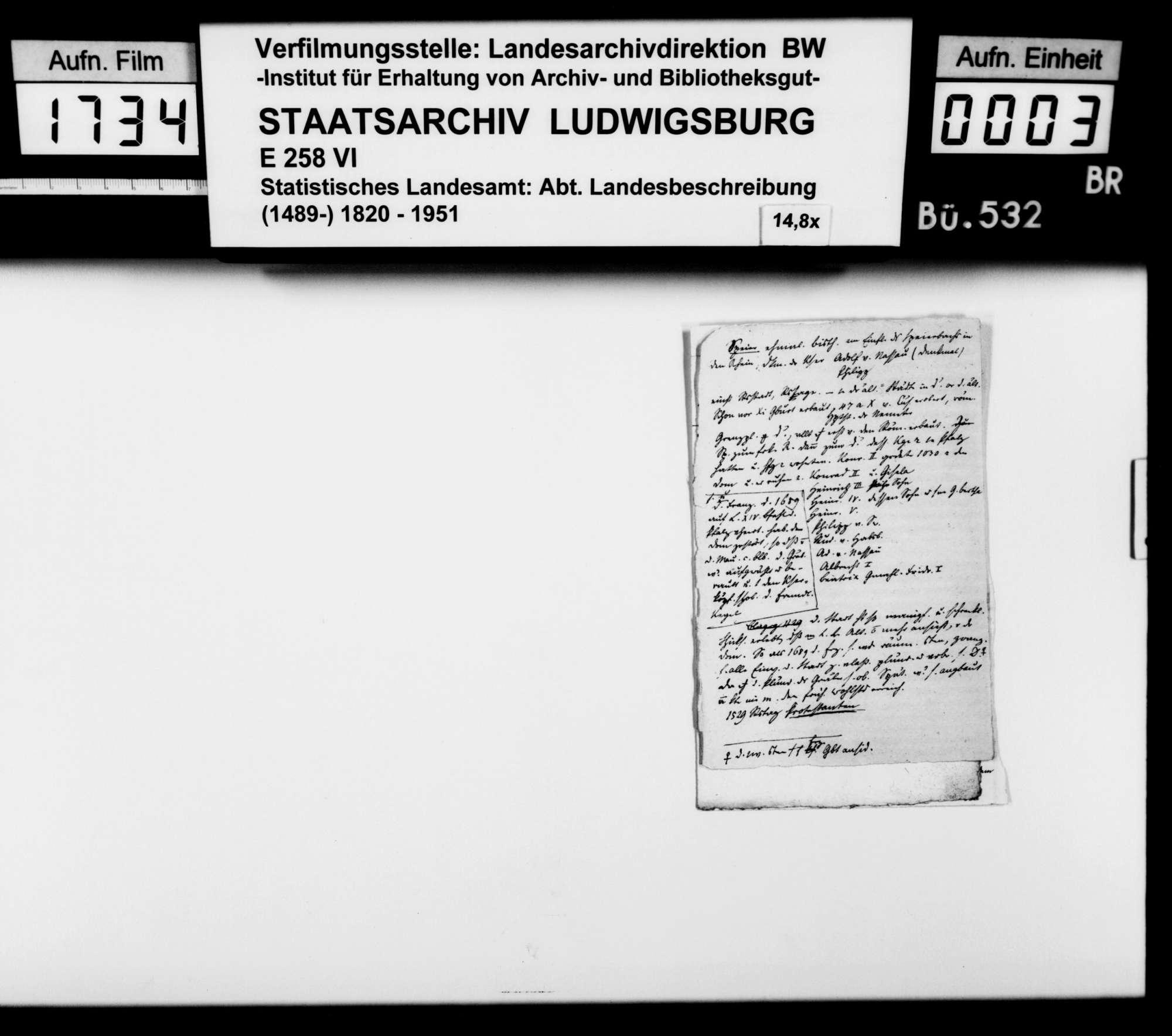 Notizen, Bemerkungen, Zeitungsmanuskripte verschiedener Autoren zur württembergischen Landesbeschreibung und -geschichte, Bild 1