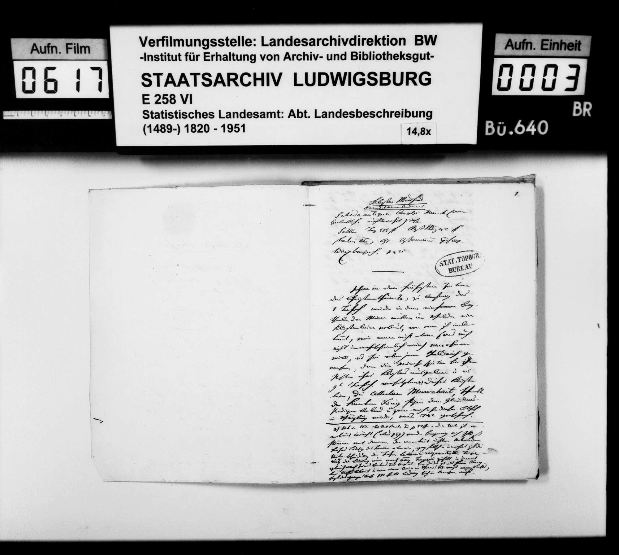 Beiträge des [Esslinger Konrektors] Karl Pfaff zur historiographischen Beschreibung des Oberamts, Bild 2