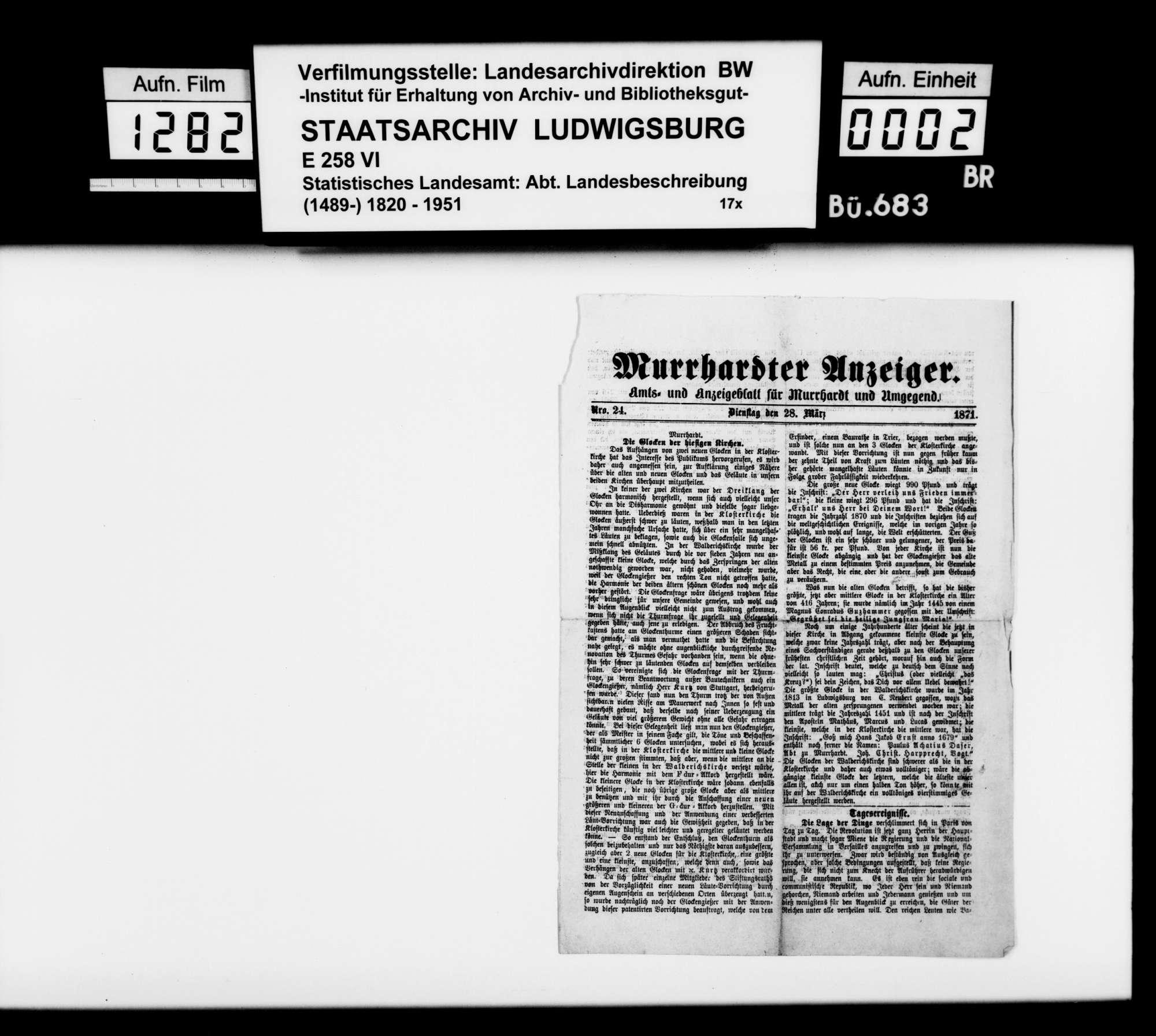 Murrhardter Anzeiger, 28. März 1871: Neue Glocken in der Klosterkirche Murrhardt, Bild 1