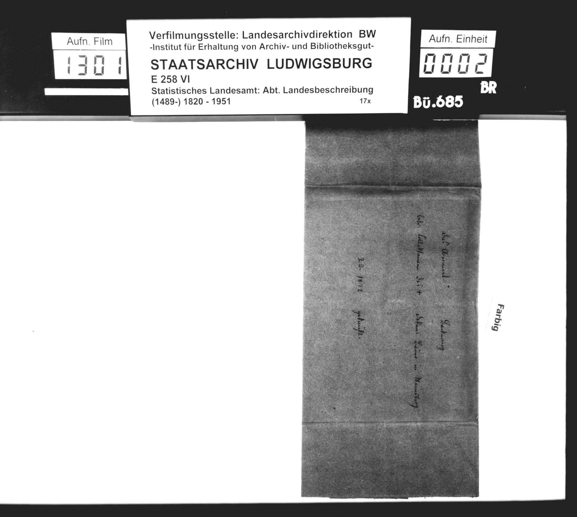 Kollektaneen des Dekans [Hermann] Bauer aus Weinsberg zur mittelalterlichen Besitz- und Herrschaftsgeschichte im Oberamtsbezirk, Bild 1