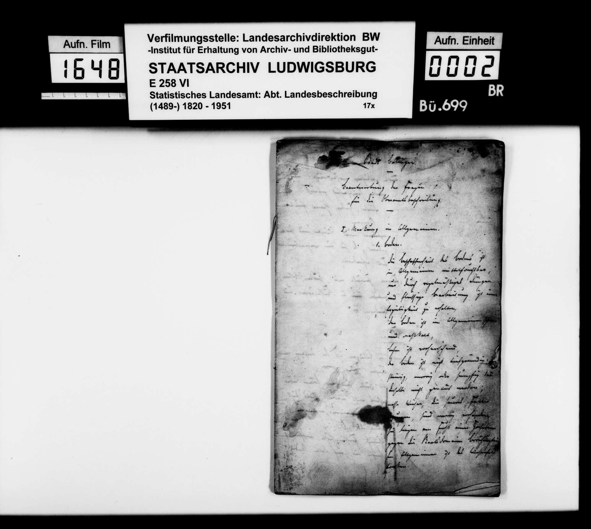 Ortsbeschreibung von Balingen mit dem vom Gemeinschaftlichen Amt ausgefüllten gedruckten Fragebogen des STBs, Bild 1