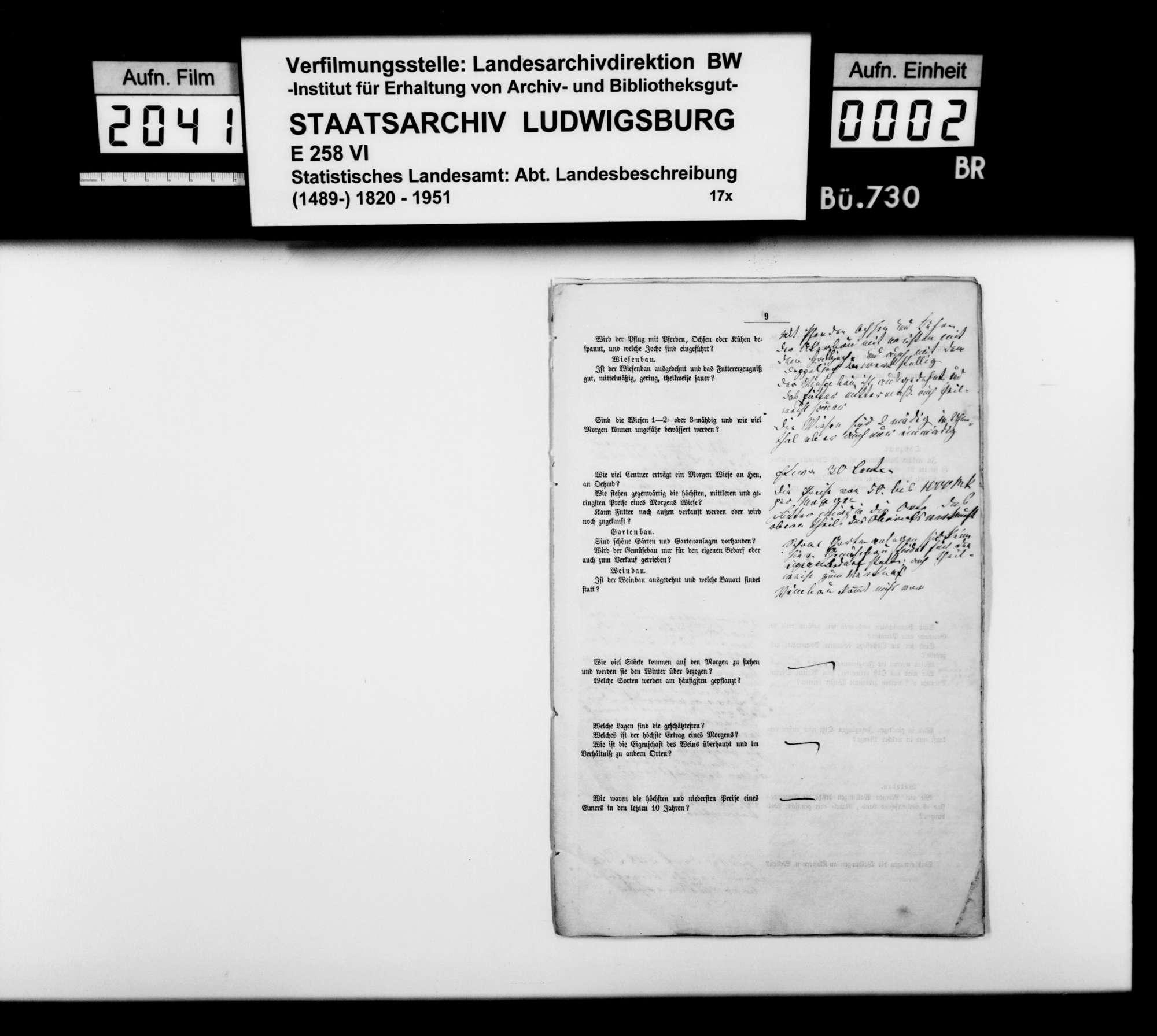 Beschreibung des Oberamts, von Trigonometer Diezel (Teile des Konzepts und Ausfertigung), Bild 1