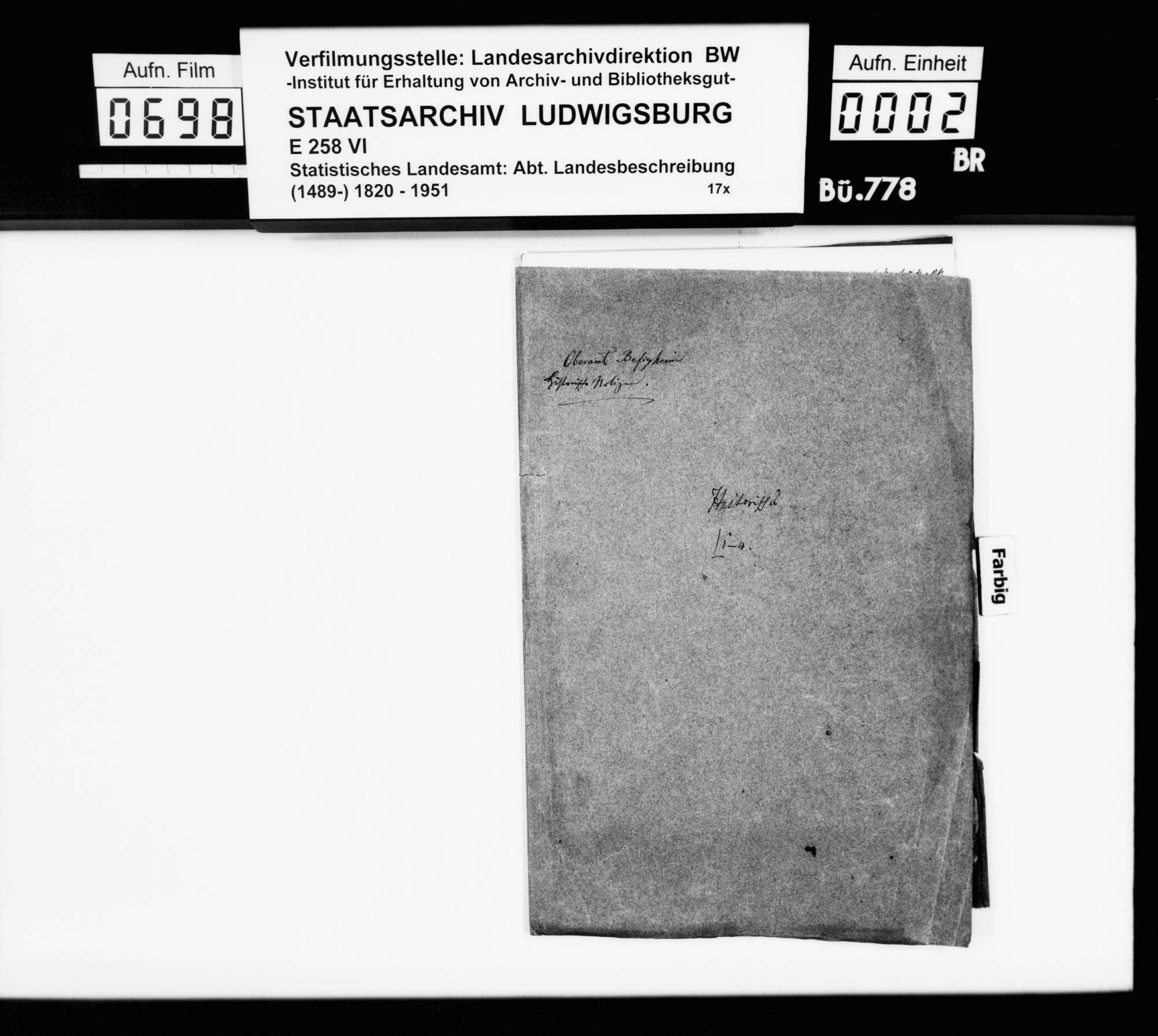 Notizen [v.a. des Oberstudienrats Christoph Friedrich Stälin] zur Geschichte im Oberamtsbezirk, Bild 1