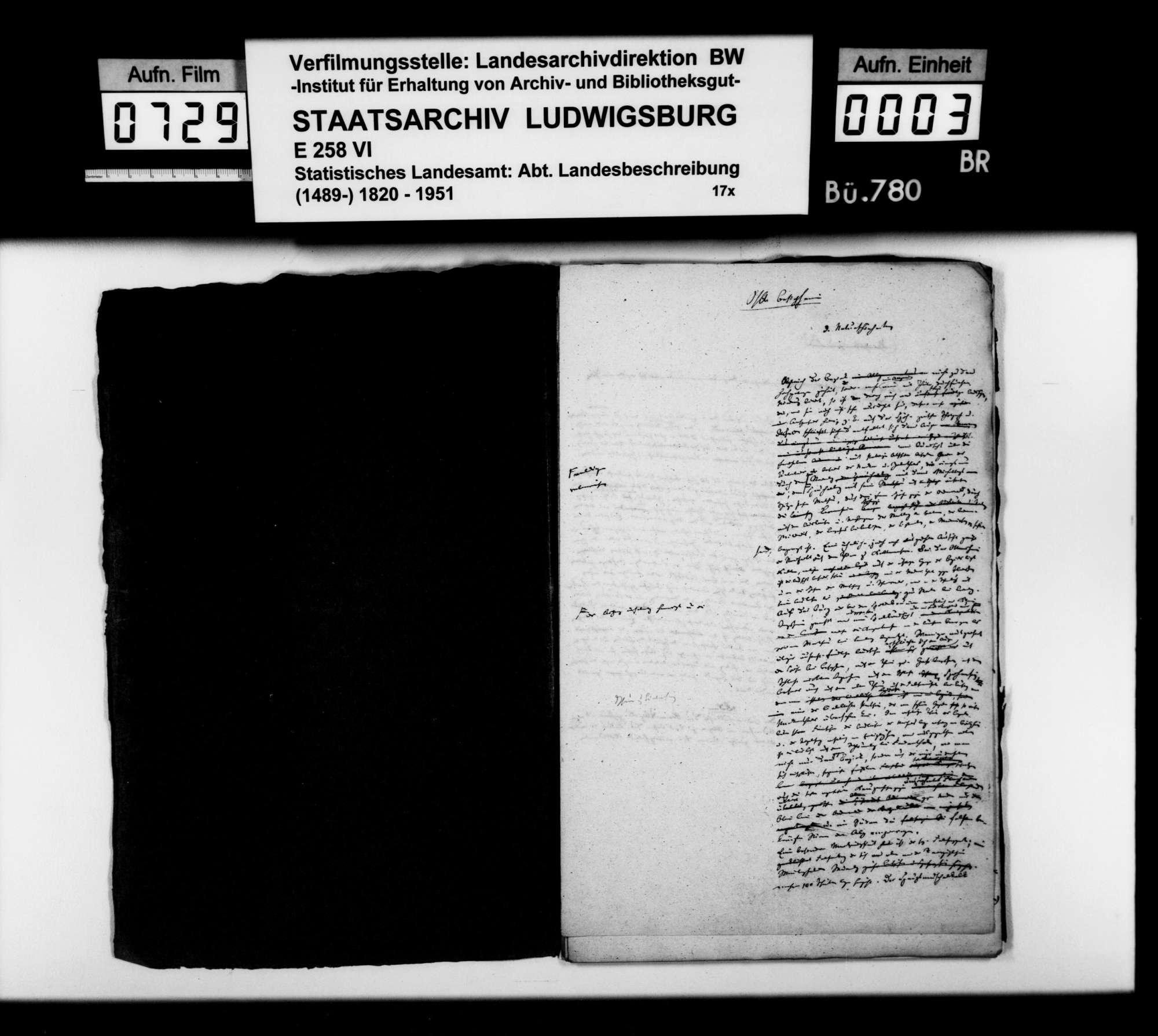 Textmanuskript [des Finanzassessors Karl Eduard Paulus] zu Teilen der OAB, Bild 2