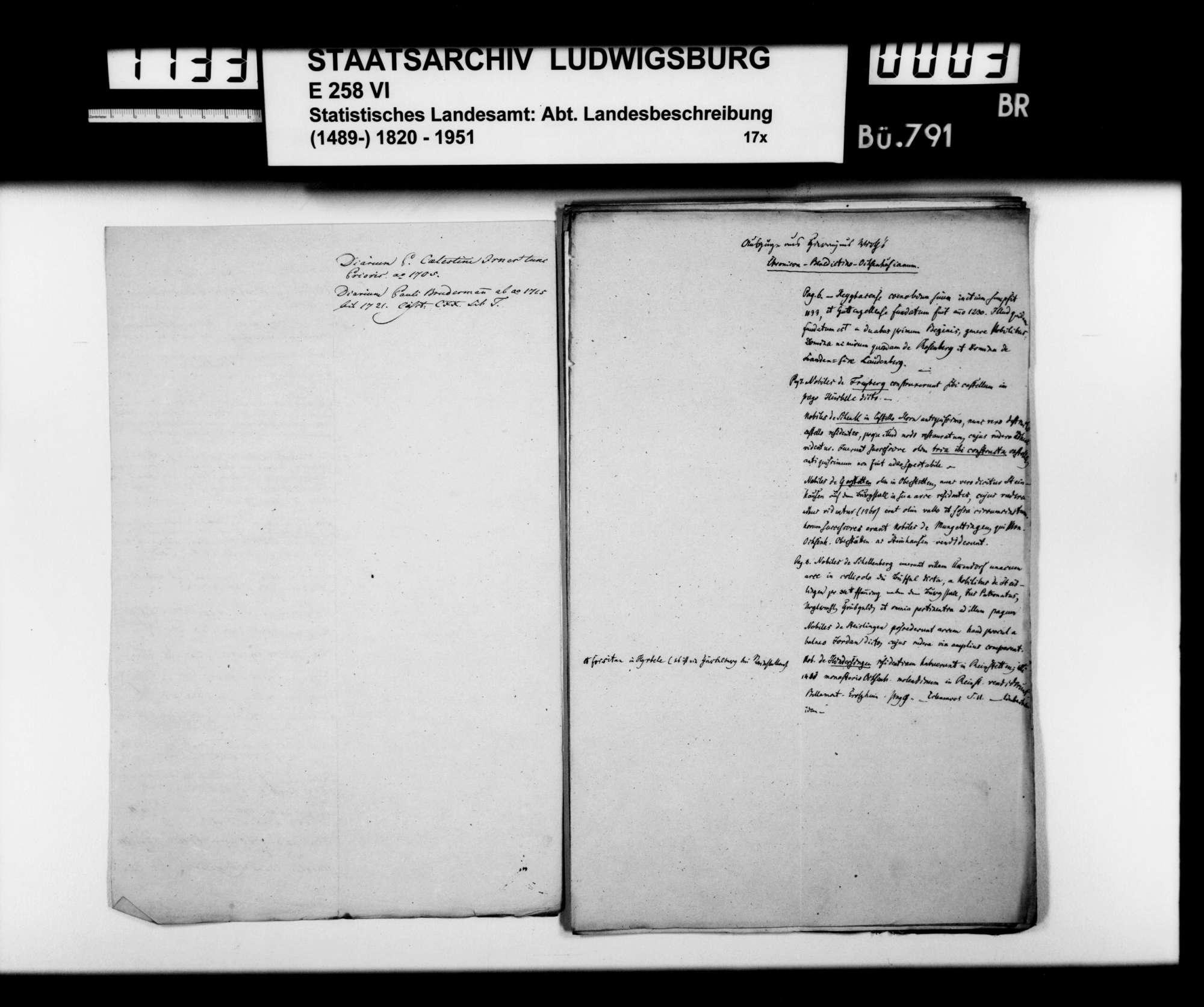 Auszüge aus Archivalien, Quelleneditionen und Geschichtswerken (Hieronymus Würth: Chronicon... [Heyd 5369], Wechsler: Sammlung... [Heyd 4168], ehemaliges Warthausen