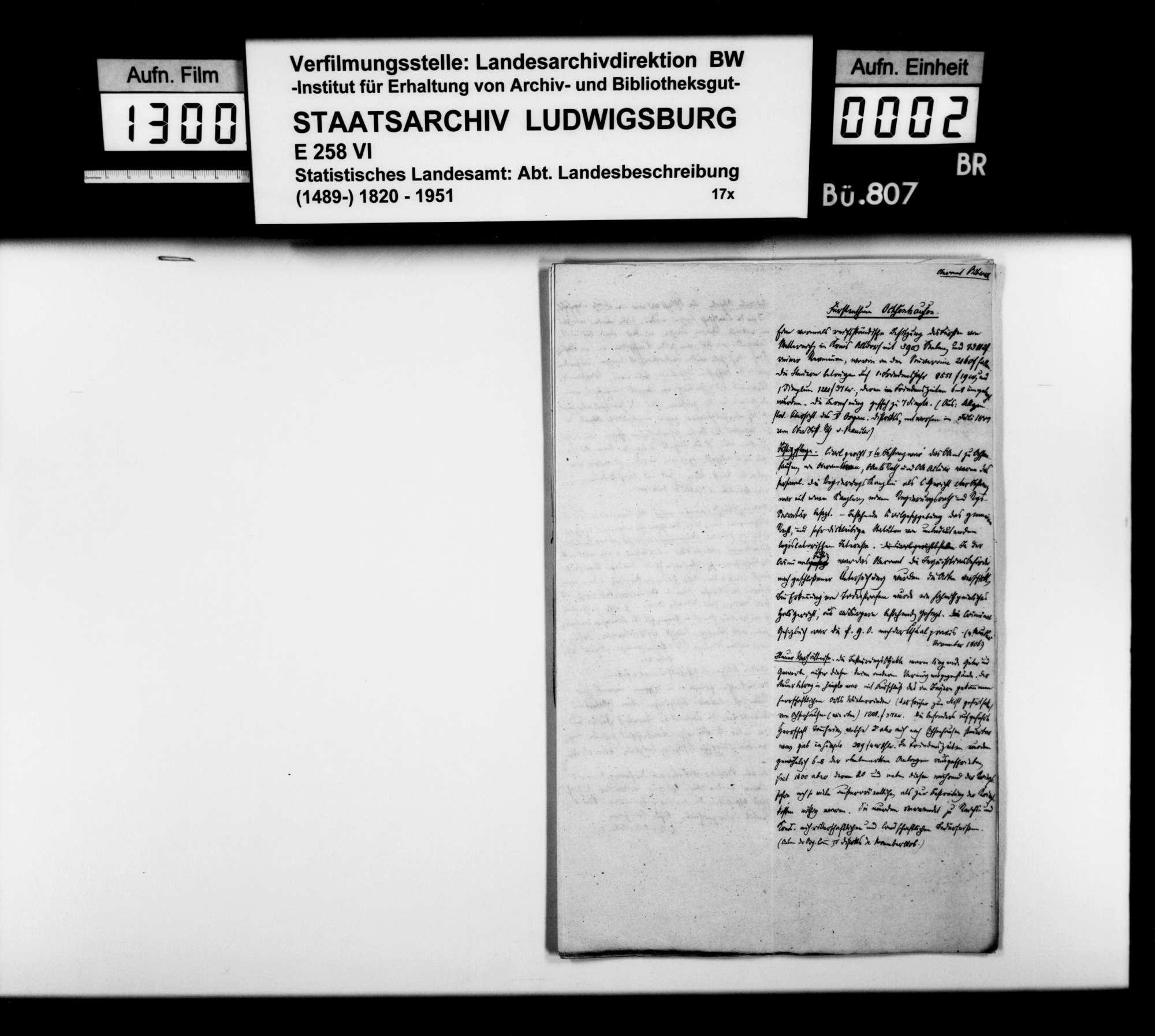 Notizen [des STBs] aus den Organisationsakten von 1806 zu den territorialen württembergischen Erwerbungen im Oberamt, Bild 1