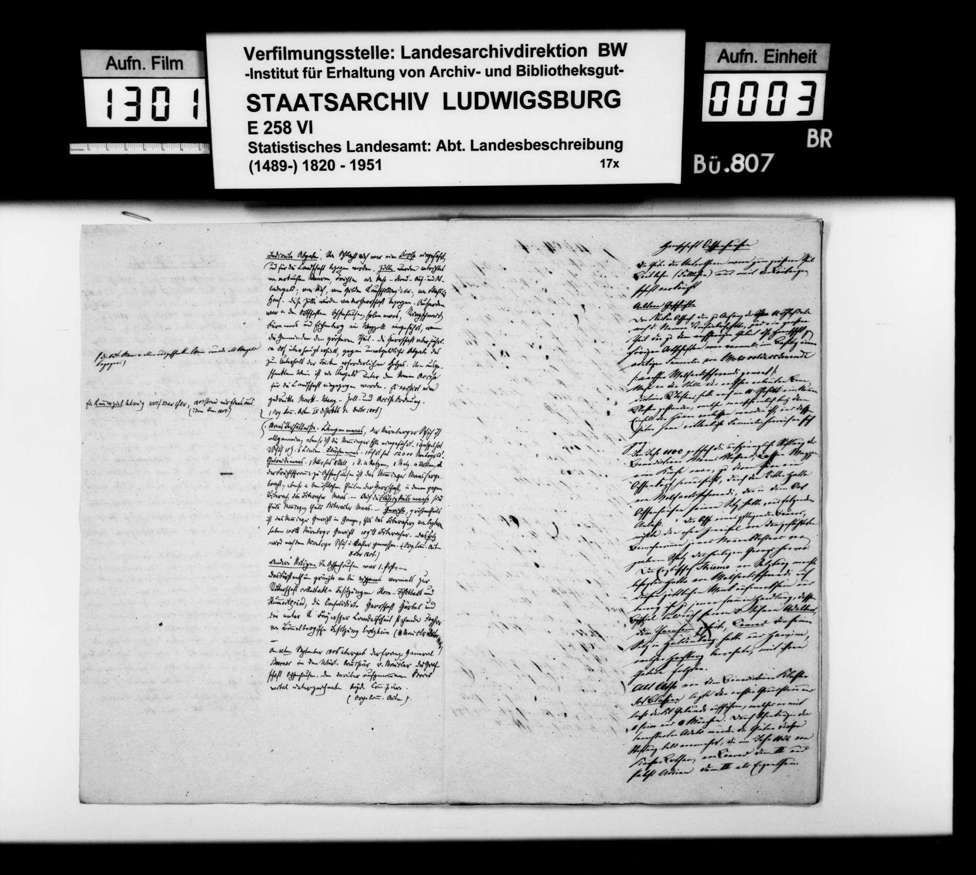 Notizen [des STBs] aus den Organisationsakten von 1806 zu den territorialen württembergischen Erwerbungen im Oberamt, Bild 2