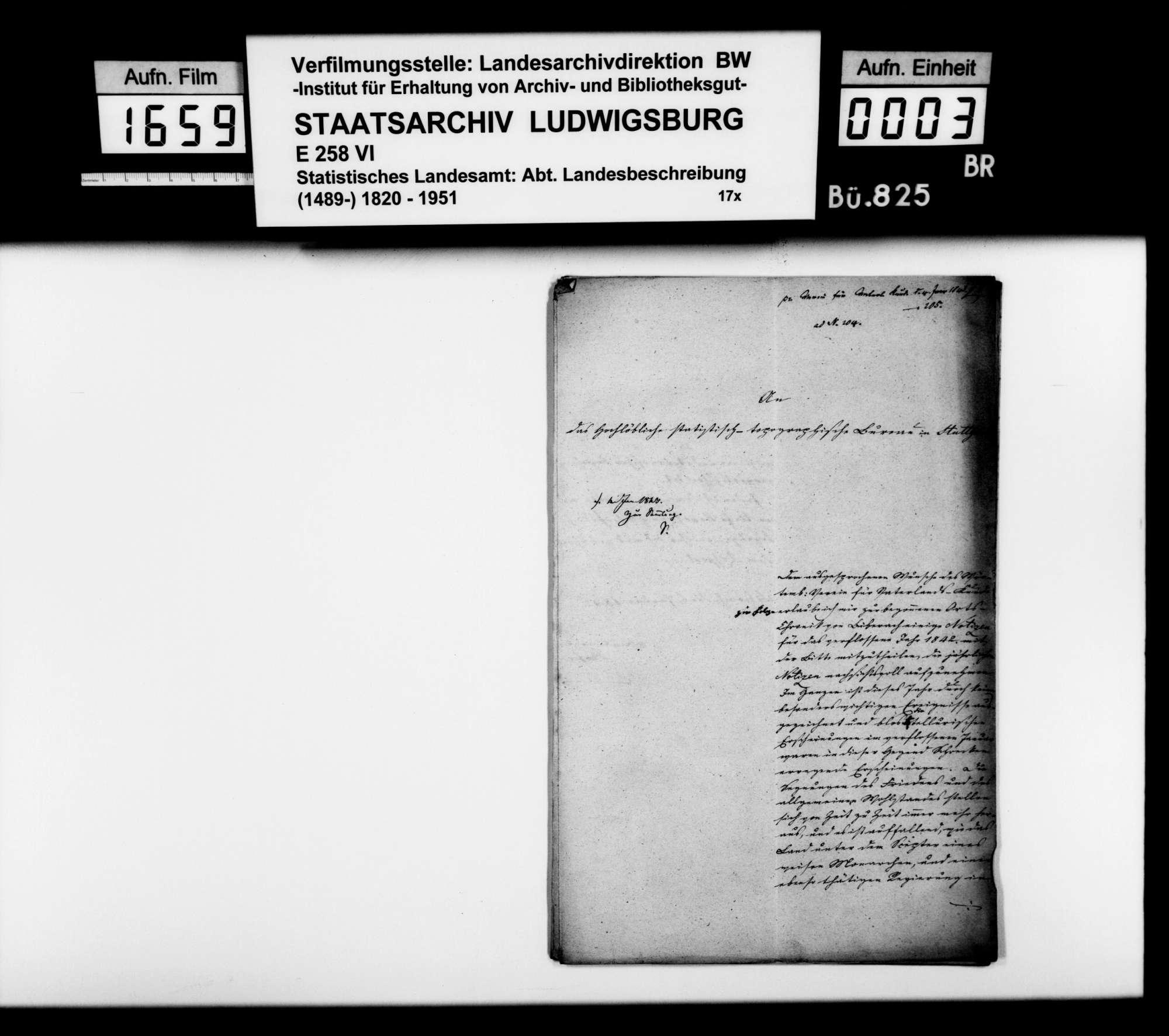 Jahreschronik des Oberamtsarztes Hofer aus Biberach für 1842, Bild 1