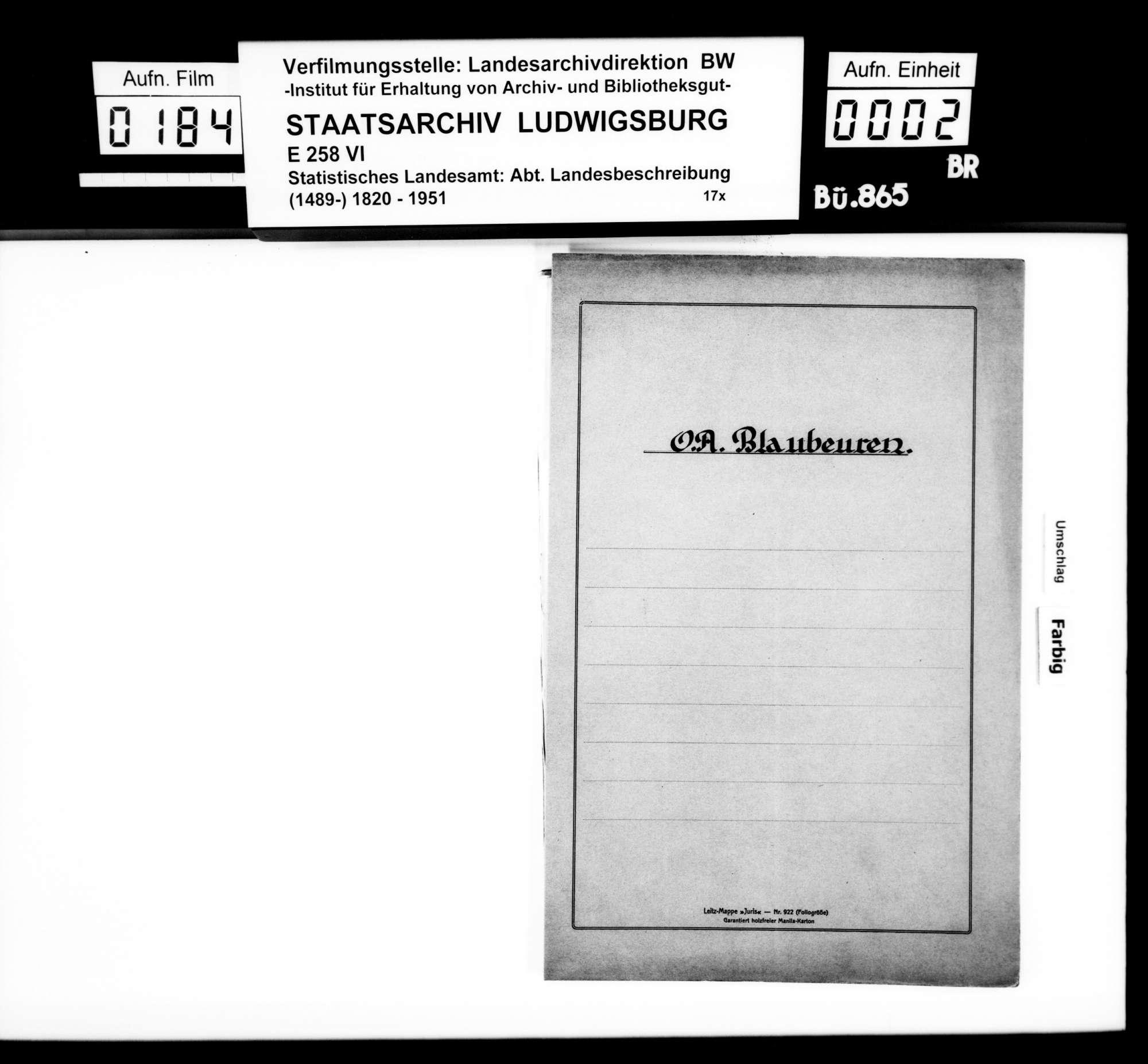 Materialsammlung des Statistischen Landesamts für eine Neubearbeitung der OAB, Bild 1