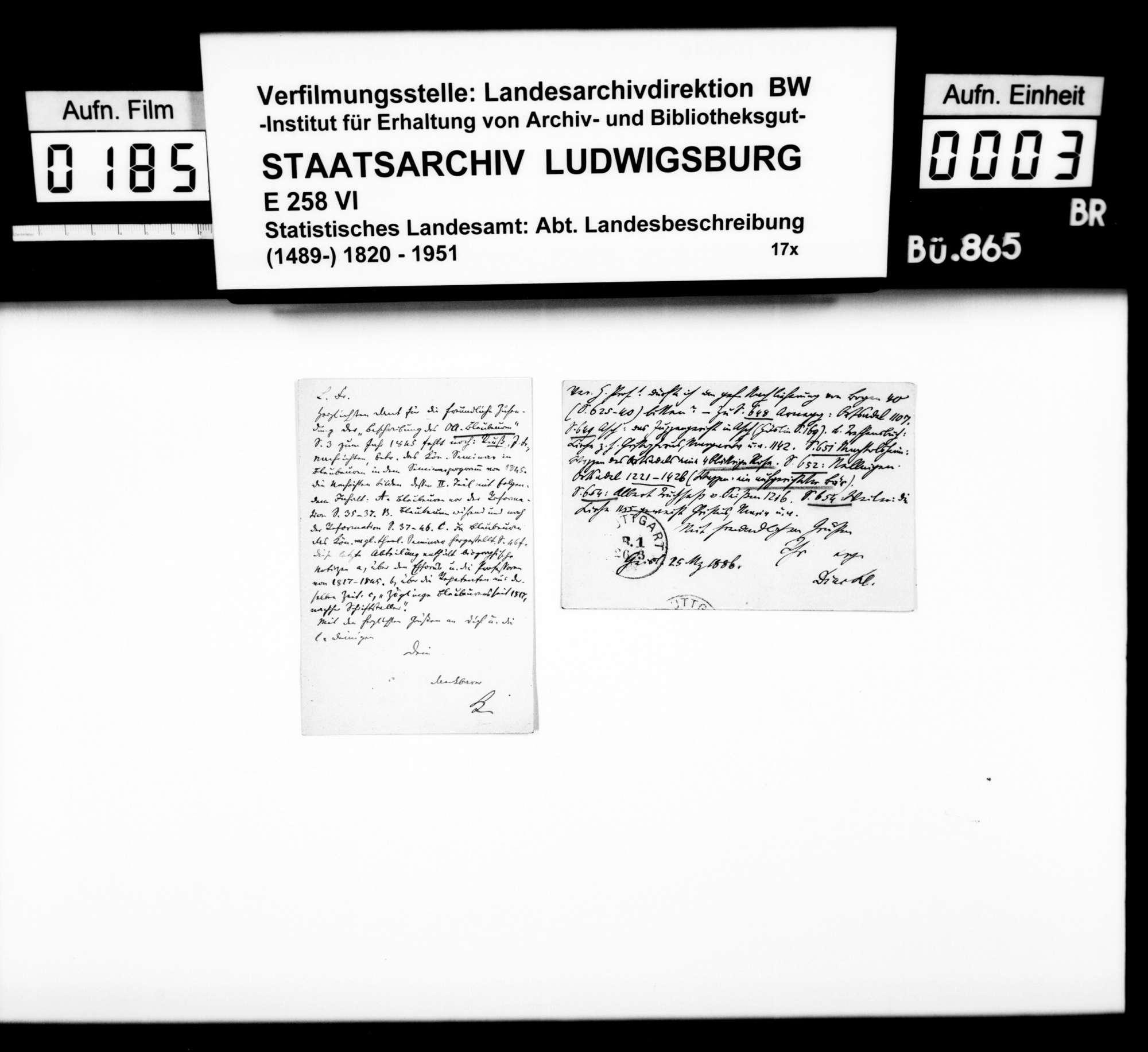 Materialsammlung des Statistischen Landesamts für eine Neubearbeitung der OAB, Bild 2
