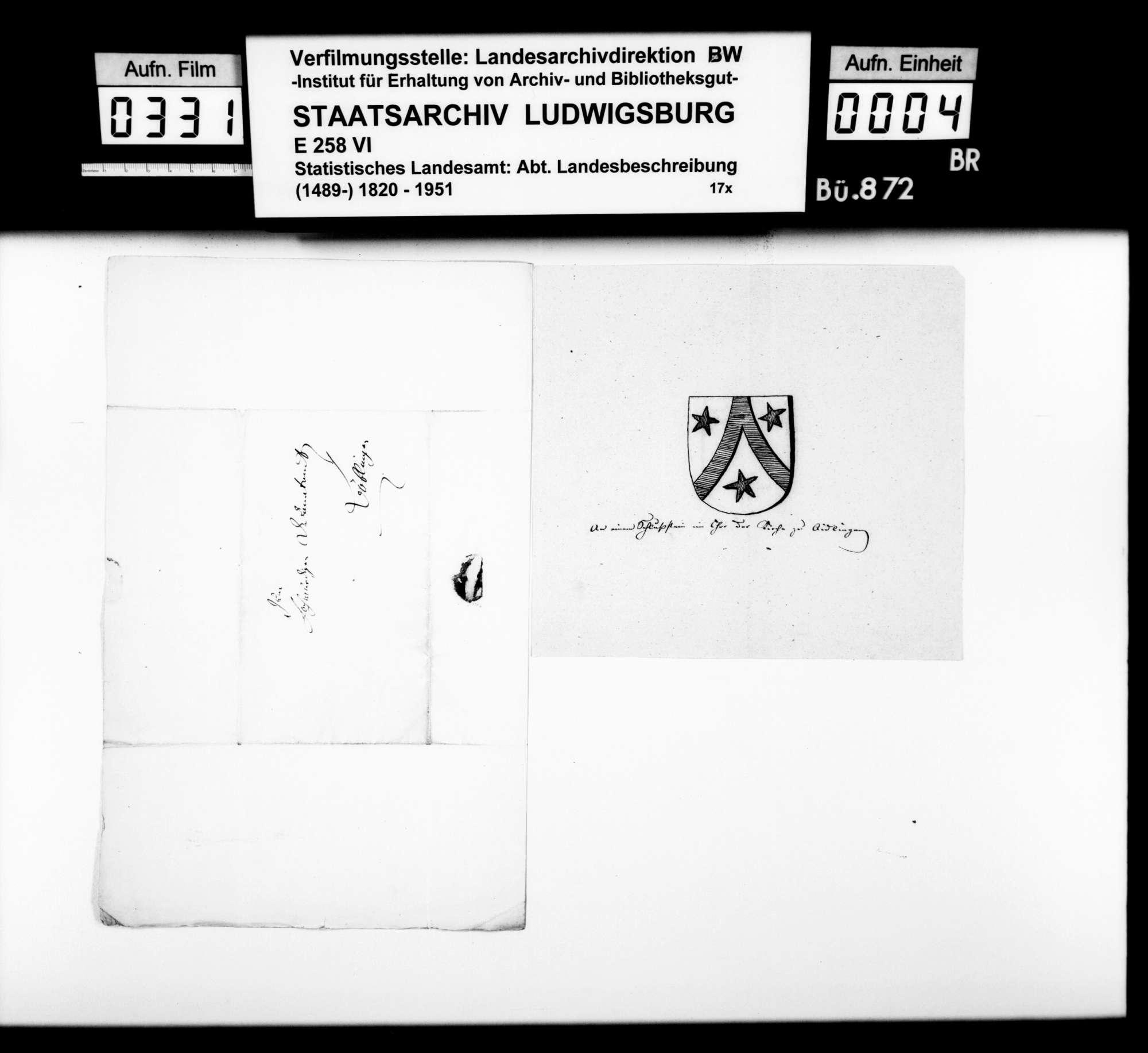 Von [Christoph Friedrich] Stälin zusammengetragene Notizen und Darstellung zur Geschichte des Oberamts und besonders des Dorfes Ehningen mit den beiden Schlössern, Bild 3
