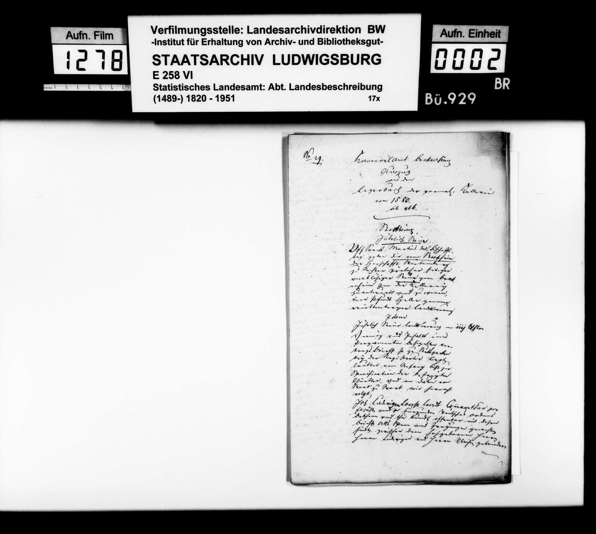 Auszüge aus Amtsbüchern als Materialsammlung [des Finanzrats Moser] zur Geschichte des Oberamtsbezirks, Bild 1