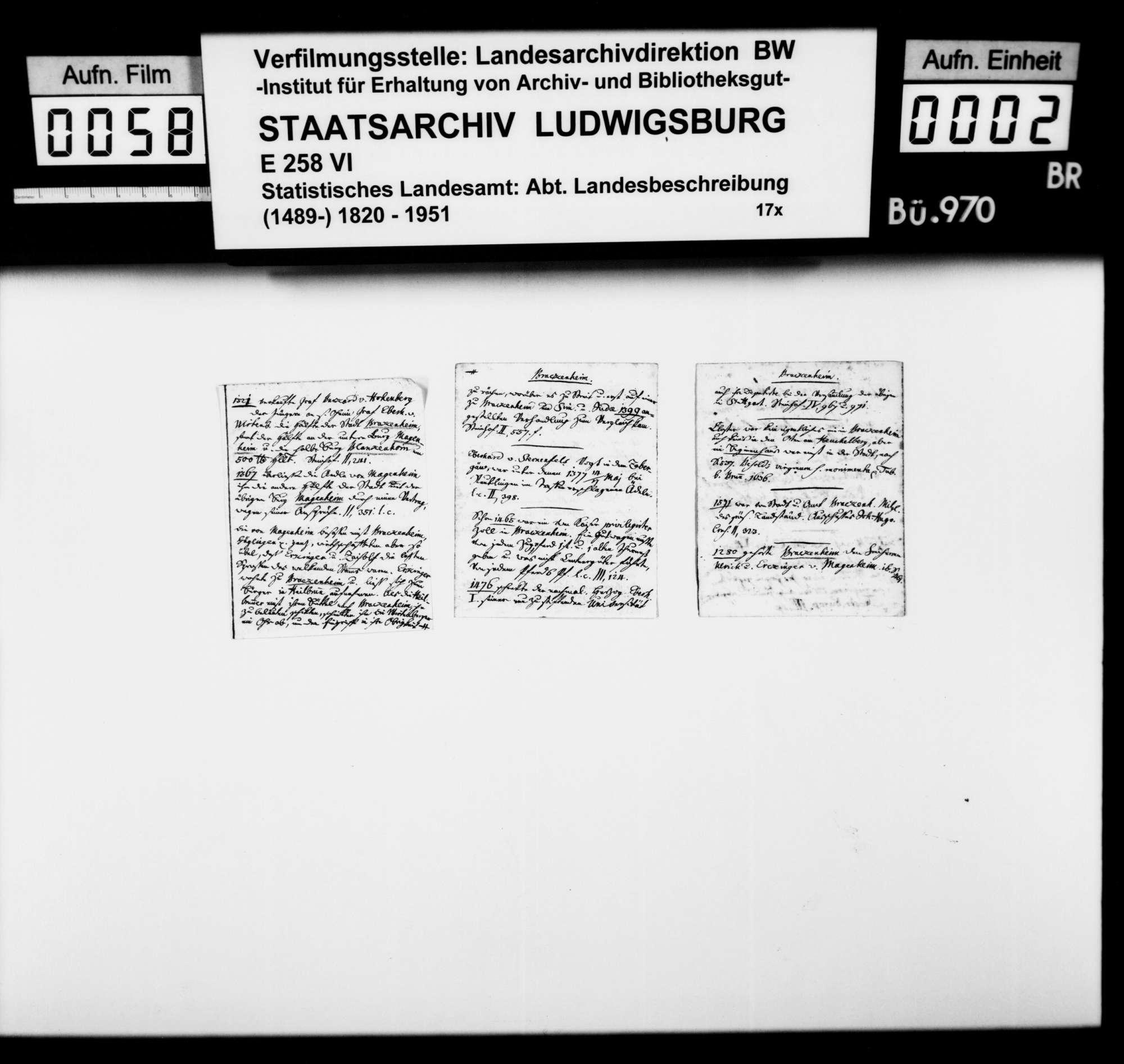 Beschreibung und Geschichte von Kleingartach sowie Notizen zur Geschichte von Brackenheim, von Pfarrer Köhler aus Marschalkenzimmern, Bild 1