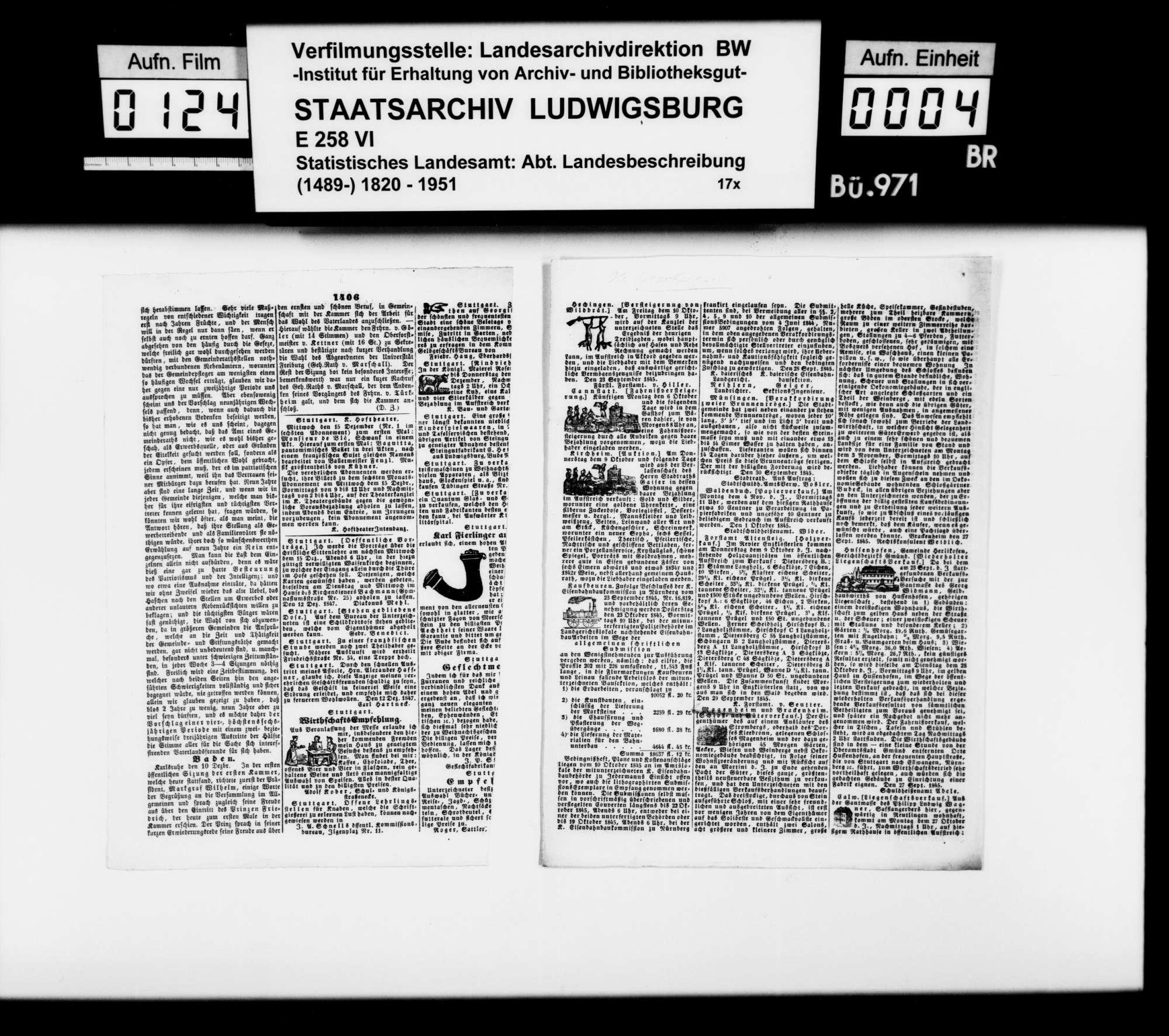 Einzelblätter aus der Schwäbischen Kronik mit diversen Nachrichten zur OAB [, zusammengetragen von Finanzrat Rudolf Moser], Bild 3