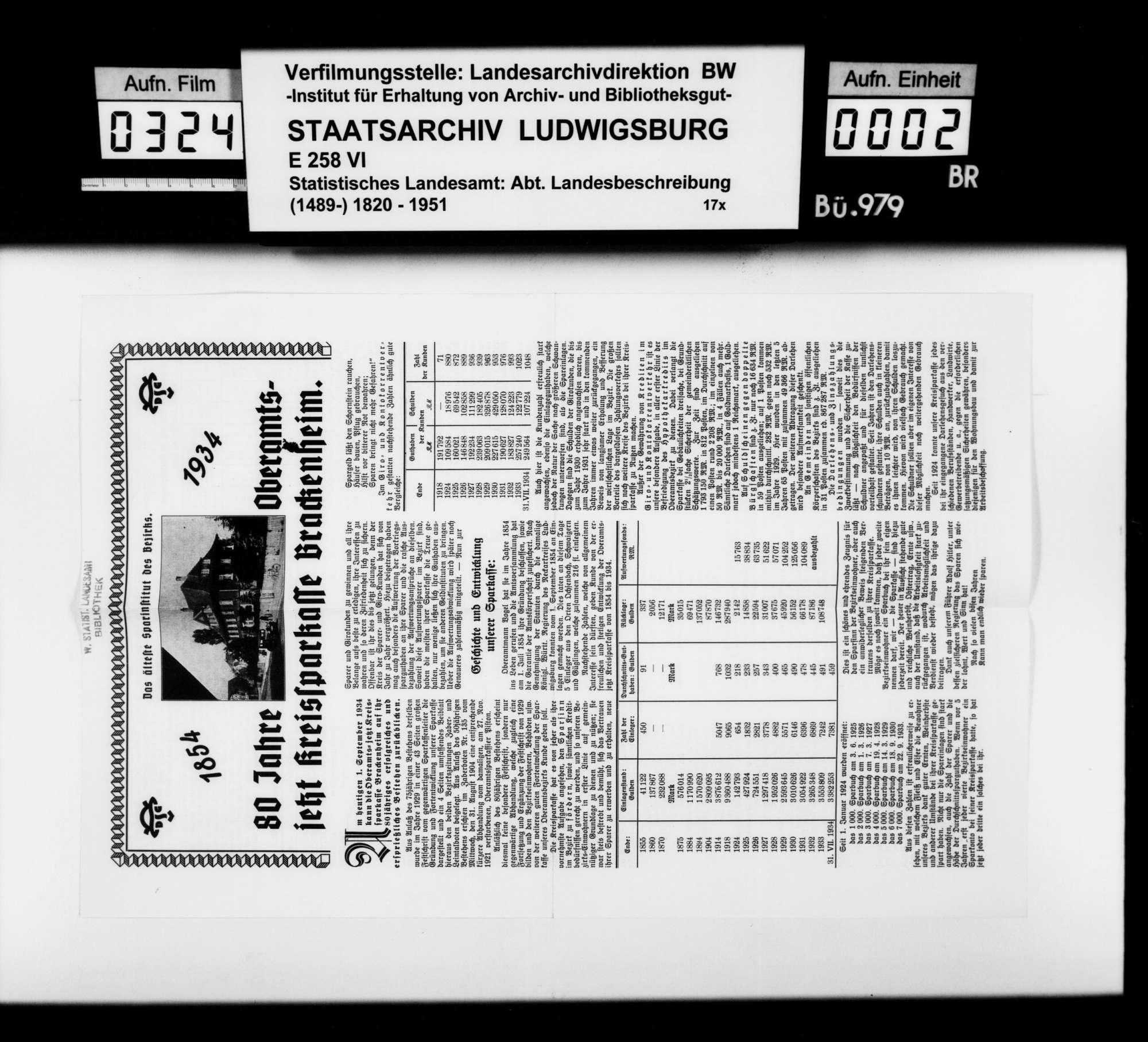 Sammlung gedruckten Materials für eine Neubearbeitung der OAB, Bild 1