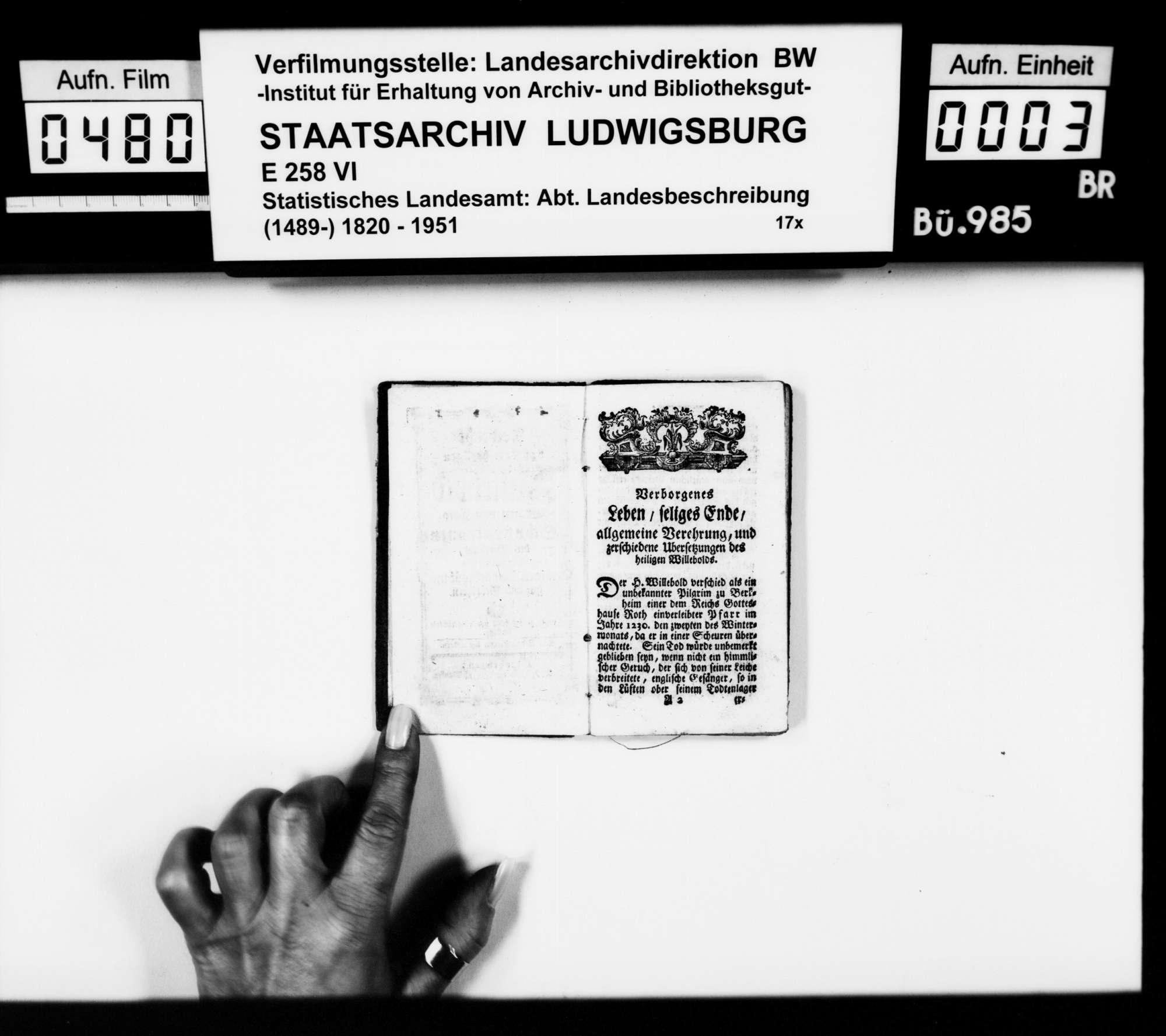 Nachricht von dem heiligen Willebold, Grafen von Calw, Schutzpatronen des Illertals, zweite Auflage gedruckt in Ottobeuren 1786, oktav; Besitzereintrag von Xaver Schabet aus Wurzach 1821 auf der Umschlaginnenseite vorne und hinten, Bild 2