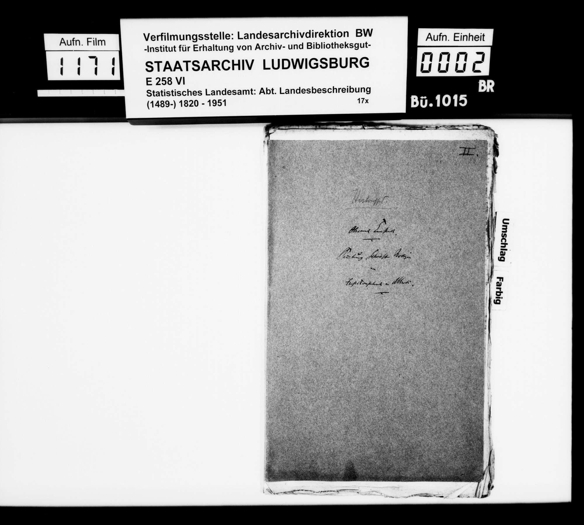 Historiographische Kollektaneen des Rechtskonsulenten [Karl] von Alberti zur Adels- und Burgengeschichte im Oberamt, Bild 1