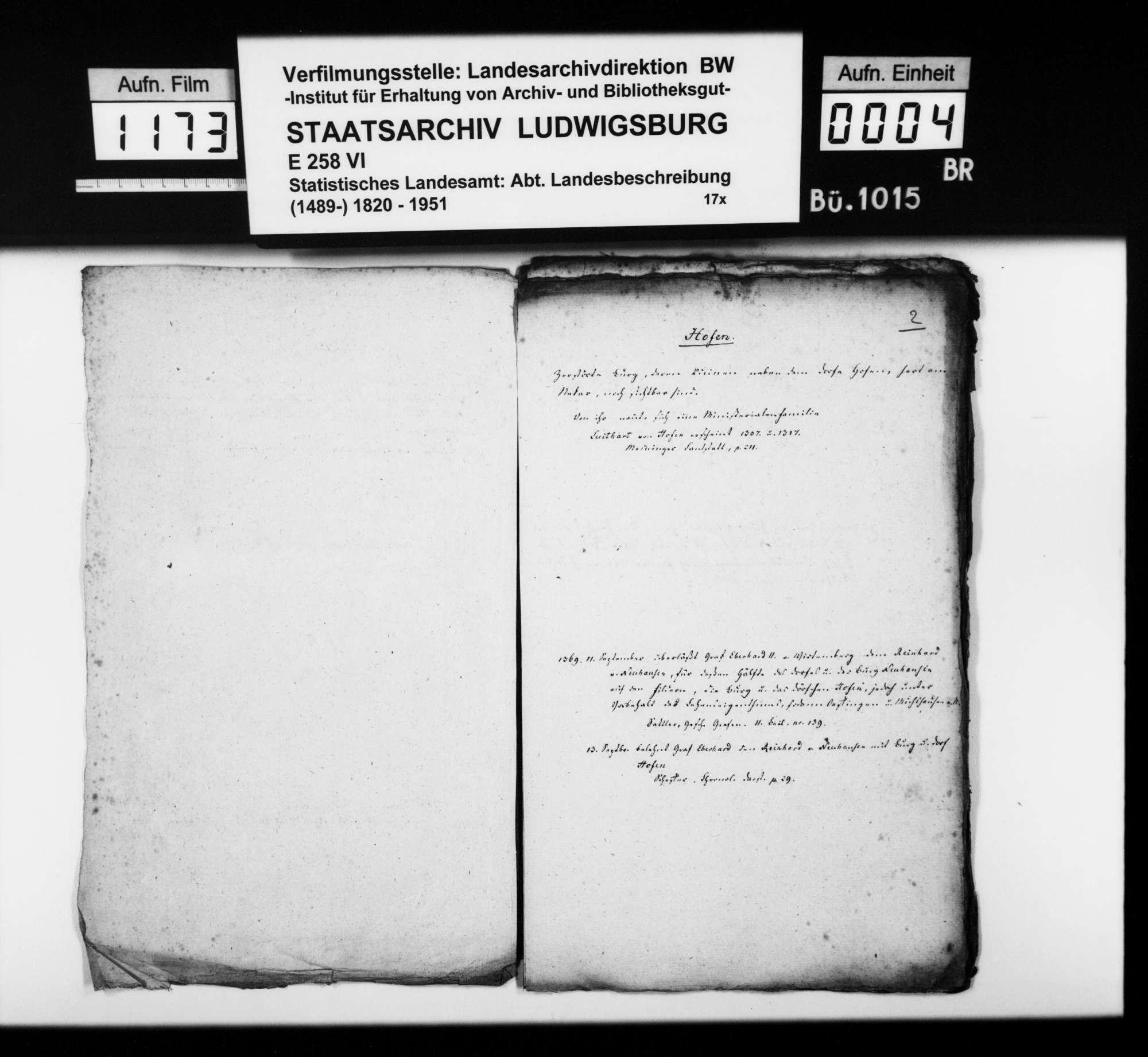 Historiographische Kollektaneen des Rechtskonsulenten [Karl] von Alberti zur Adels- und Burgengeschichte im Oberamt, Bild 3