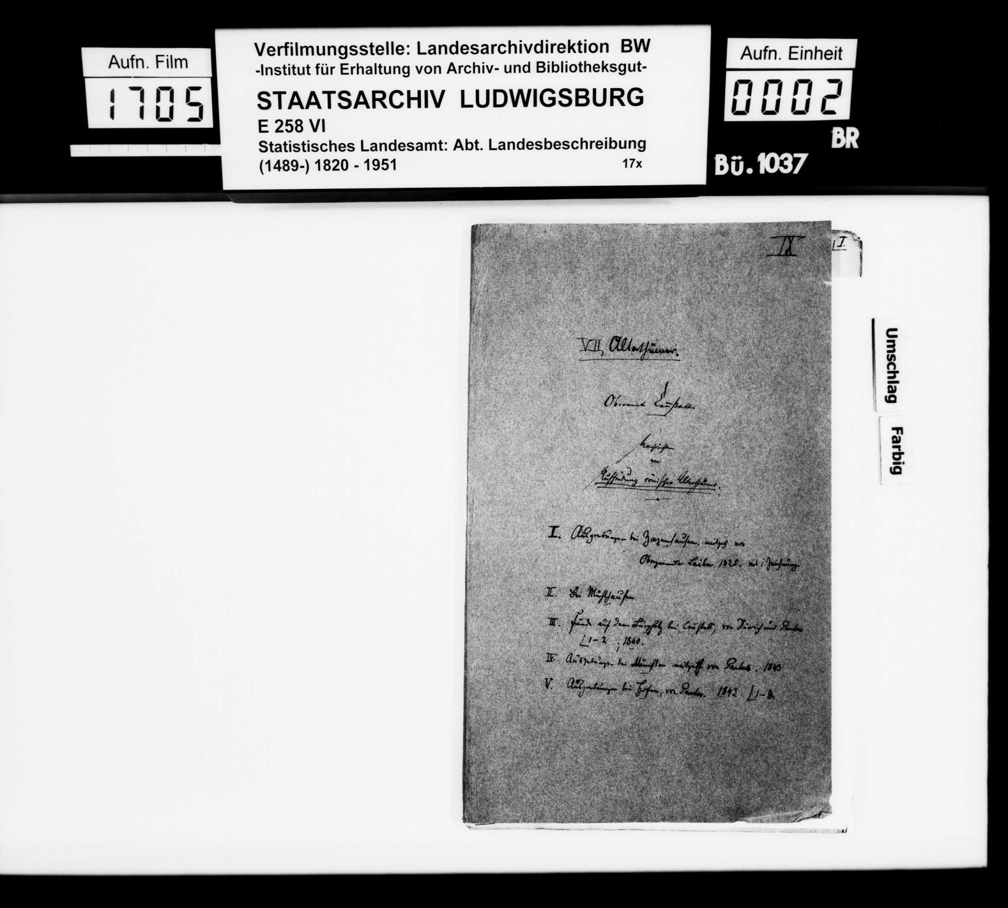 Ausgrabungen und Bodenfunde bei Zazenhausen, Mühlhausen, Cannstatt, Münster und Hofen, Bild 1