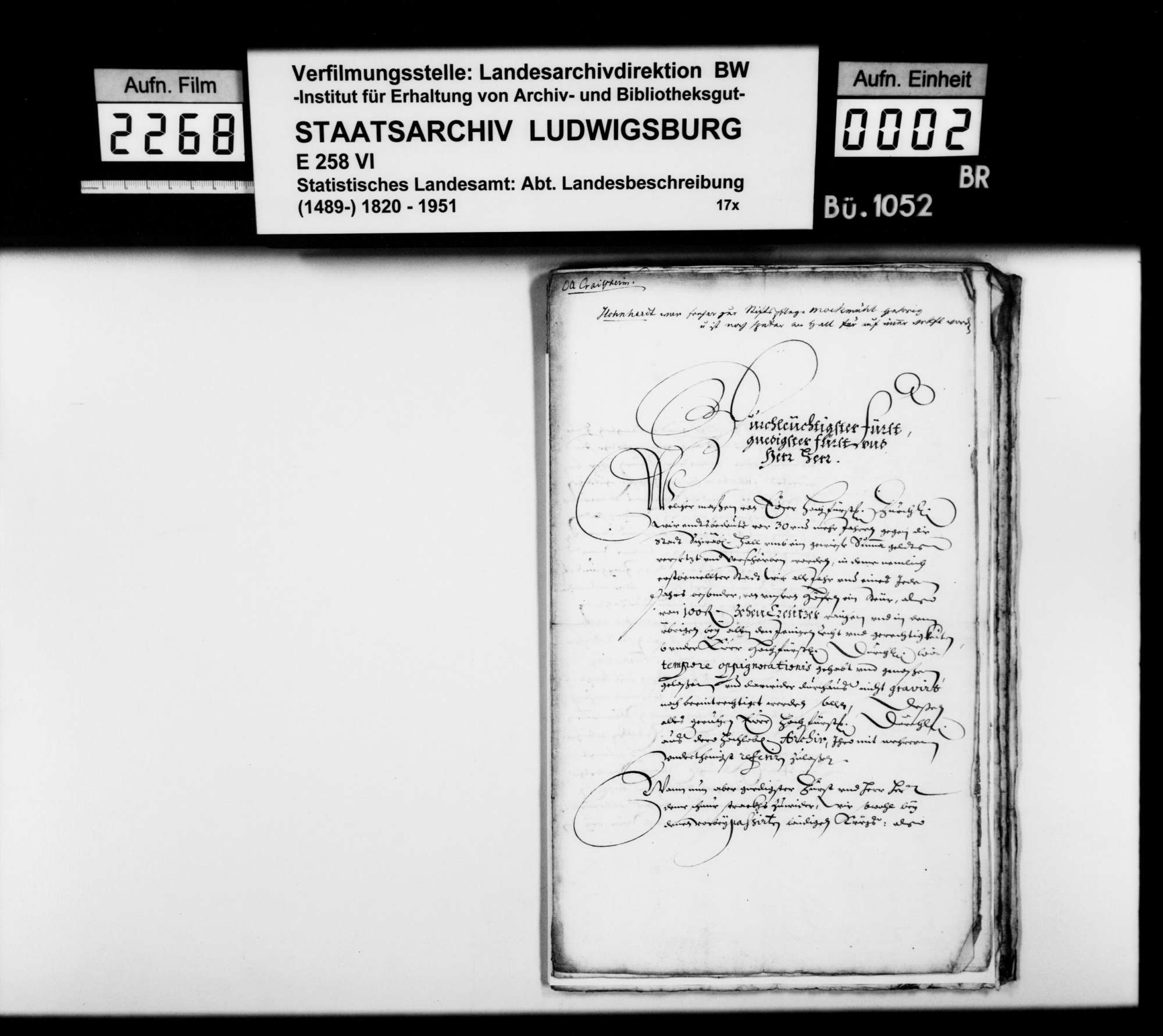Besitz der (württembergischen) Stiftspflege Möckmühl in Honhardt [aus der Materialsammlung des Finanzrats Rudolf Moser; siehe OAB S. 313f], Bild 1