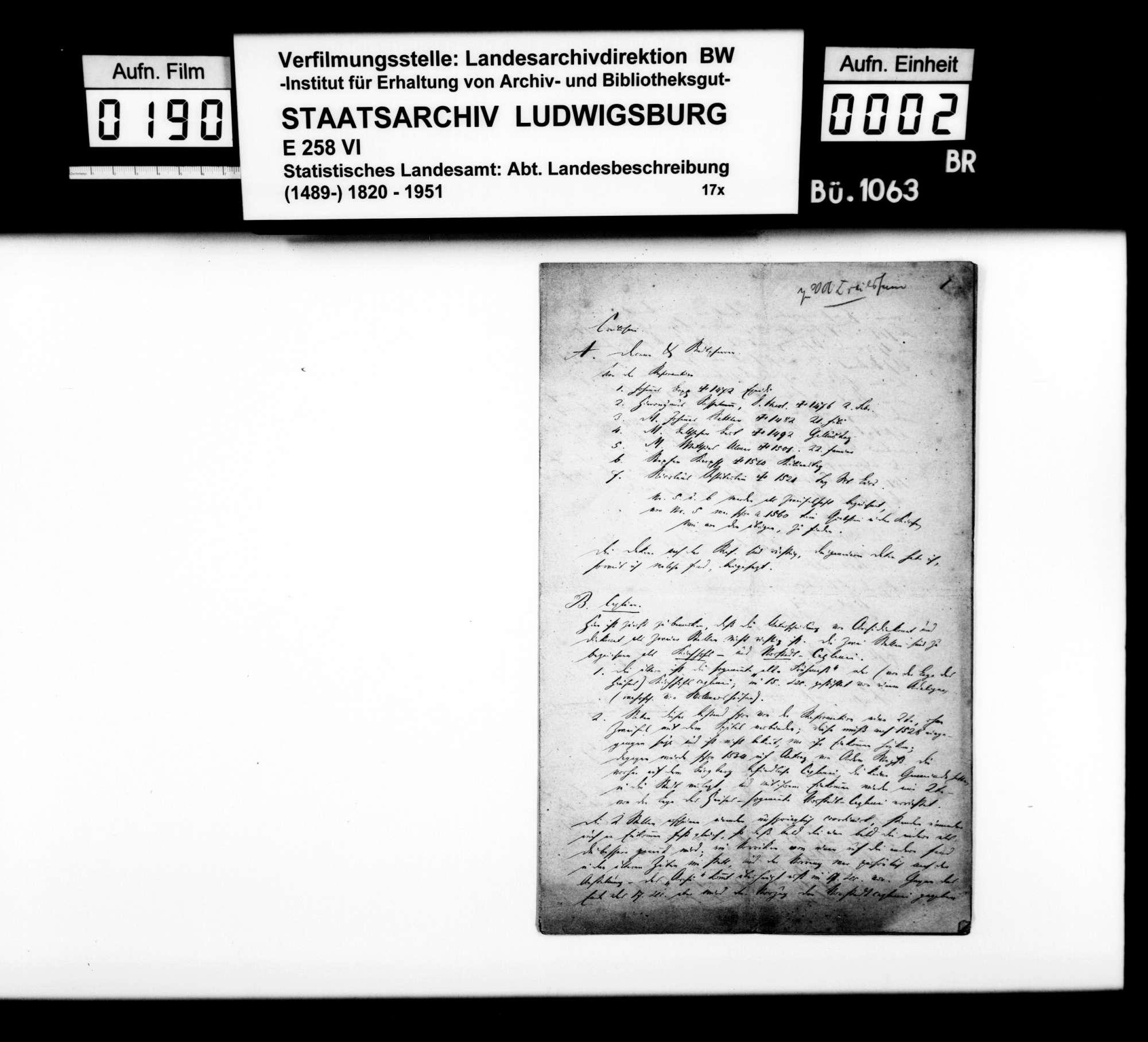 Liste der Pfarrer, Kapläne und Lehrer der Lateinschule in Crailsheim vom 15. bzw. 16. bis ins 19. Jh., Bild 1