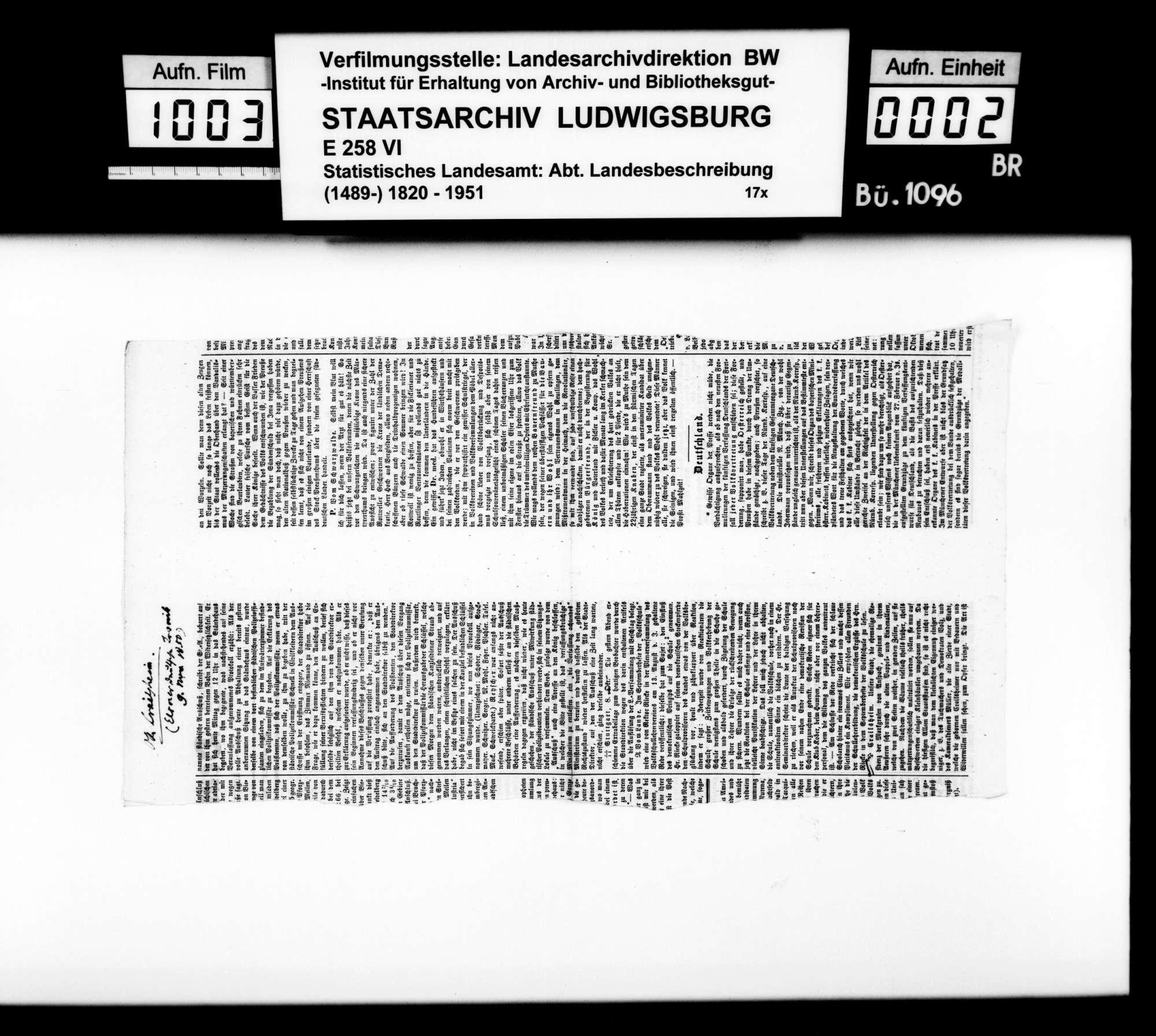 Zeitungsartikelsammlung [des Finanzrats Rudolf Moser] zur OAB, Bild 1