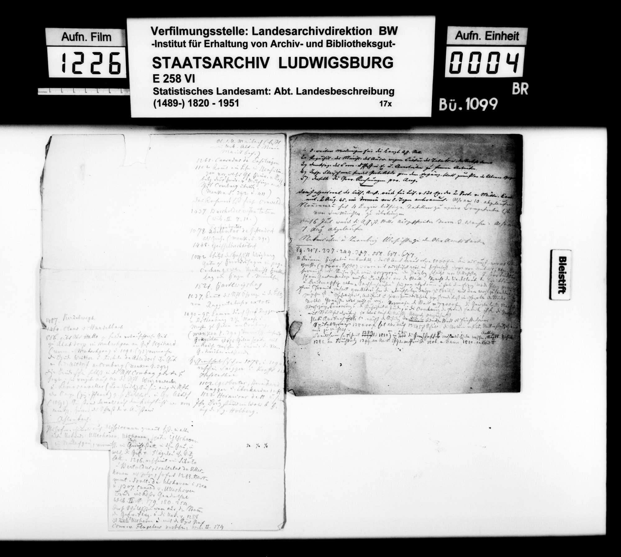 Notizen und Satzvorlagen [des Trigonometers Diezel in der Kanzlei des STBs] zur Ortsbeschreibung von Crailsheim und den anderen 25 Oberamtsgemeinden, Bild 3