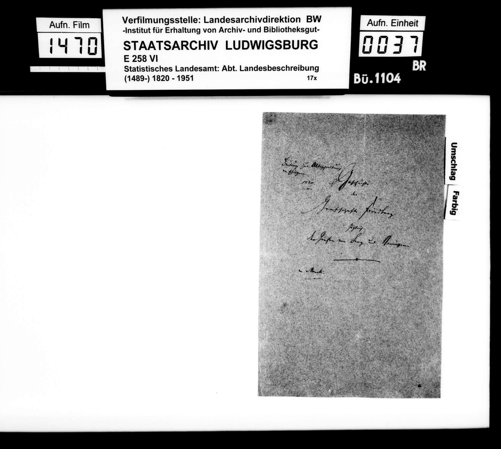 Historisches Material verschienener Art und Provenienz zur Beschreibung des Oberamts [Kopien der Kanzlei des STBs], Bild 1